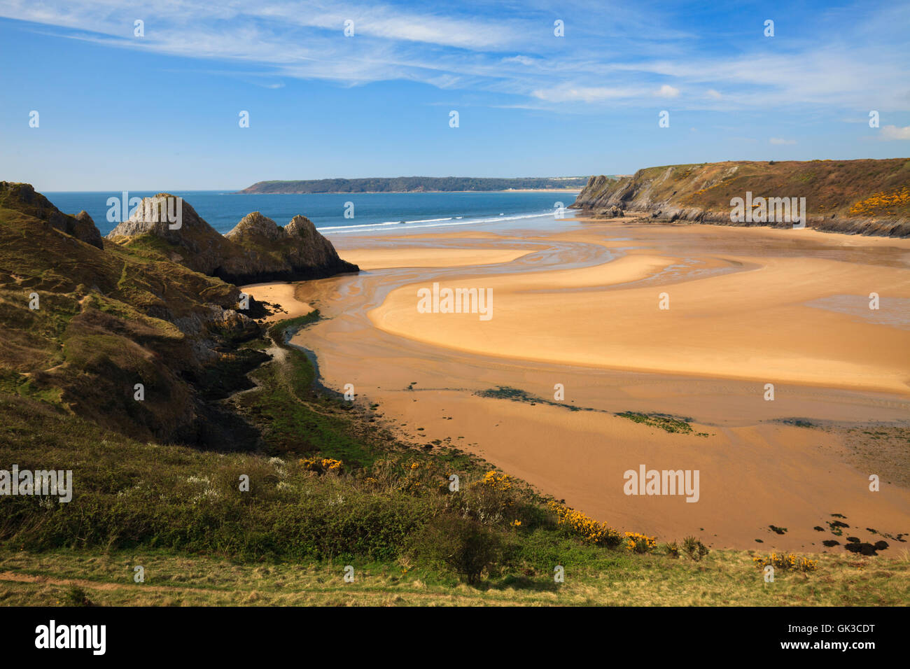 Three Cliffs Bay captured from Pennard Burrows, on the Gower in South Wales. Stock Photo
