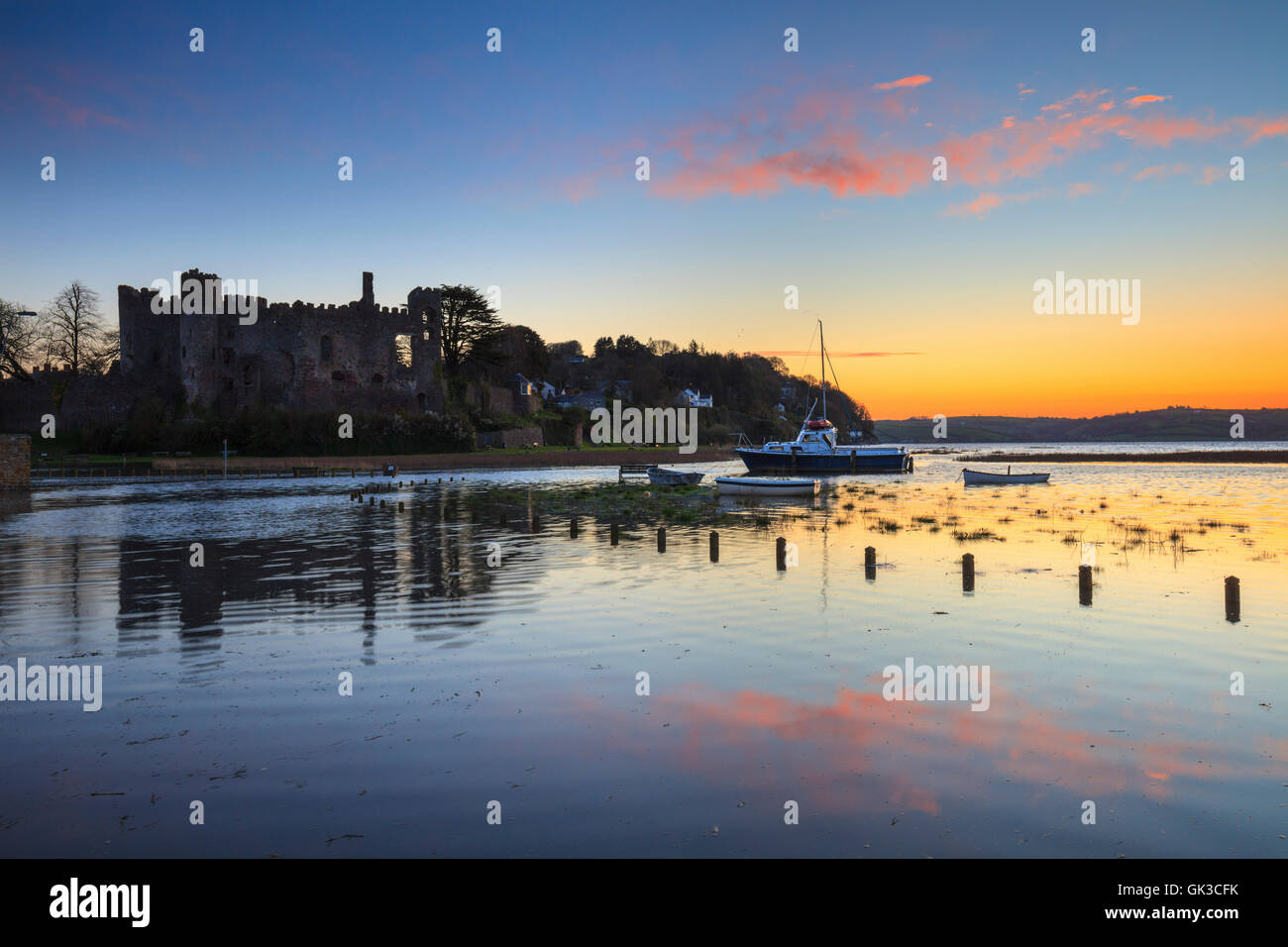 Laguarne Castle in Carmarthenshire captured at sunrise. - Stock Image