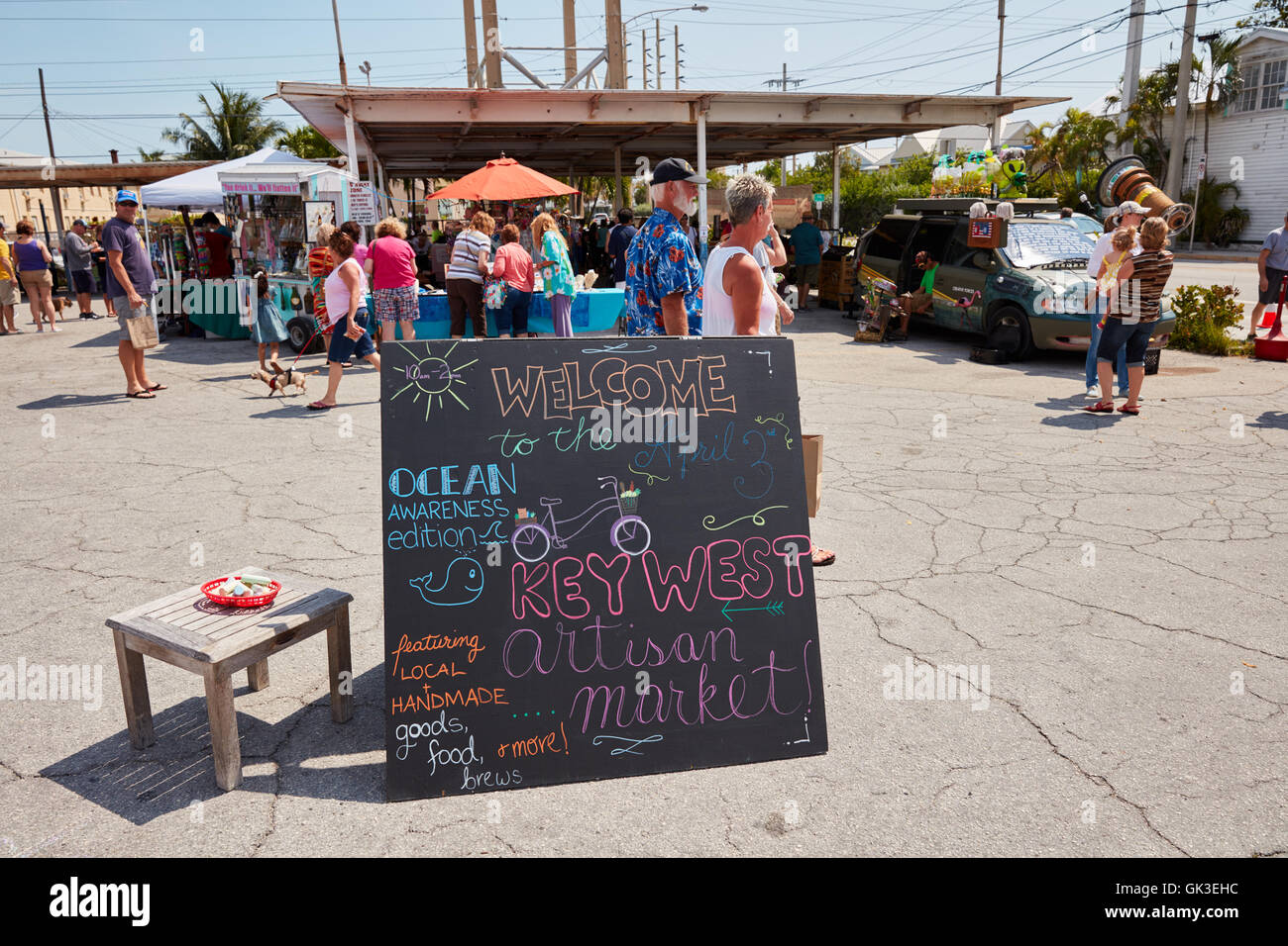 Welcome sign at the Key West Artisan Market - Stock Image