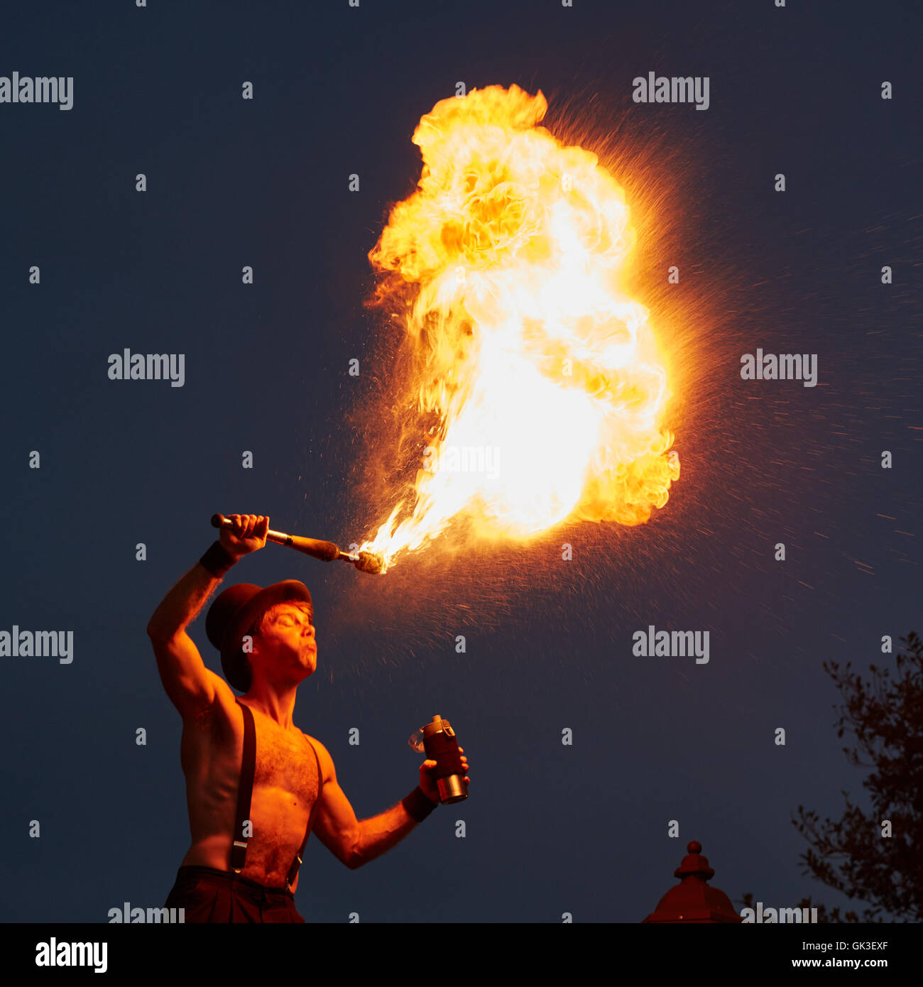 Fire breathing street performer at Mallory Square in Key West - Stock Image