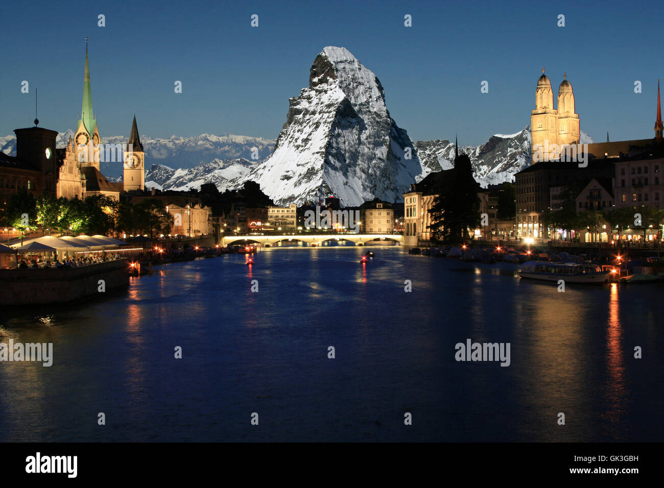 zurich with matterhorn in the background - Stock Image
