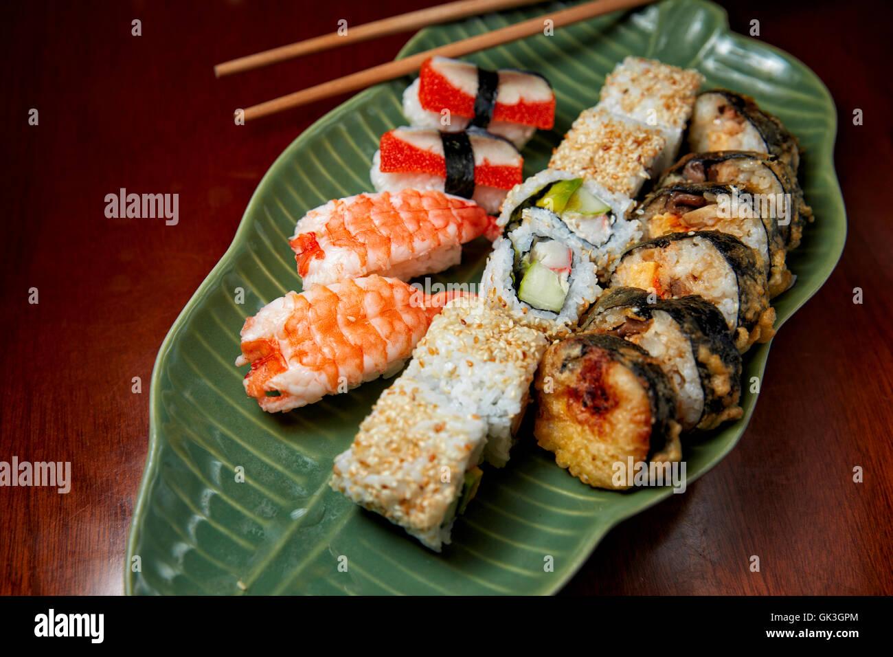 Mixed Sushi and Rolls Platter. Hue, Vietnam. - Stock Image