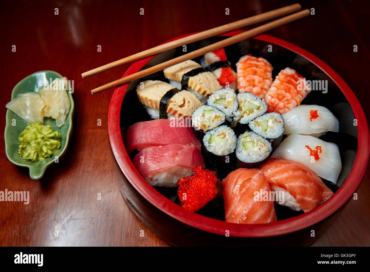 Sushi Moriawase (Mixed Sushi Platter). Hue, Vietnam. - Stock Image