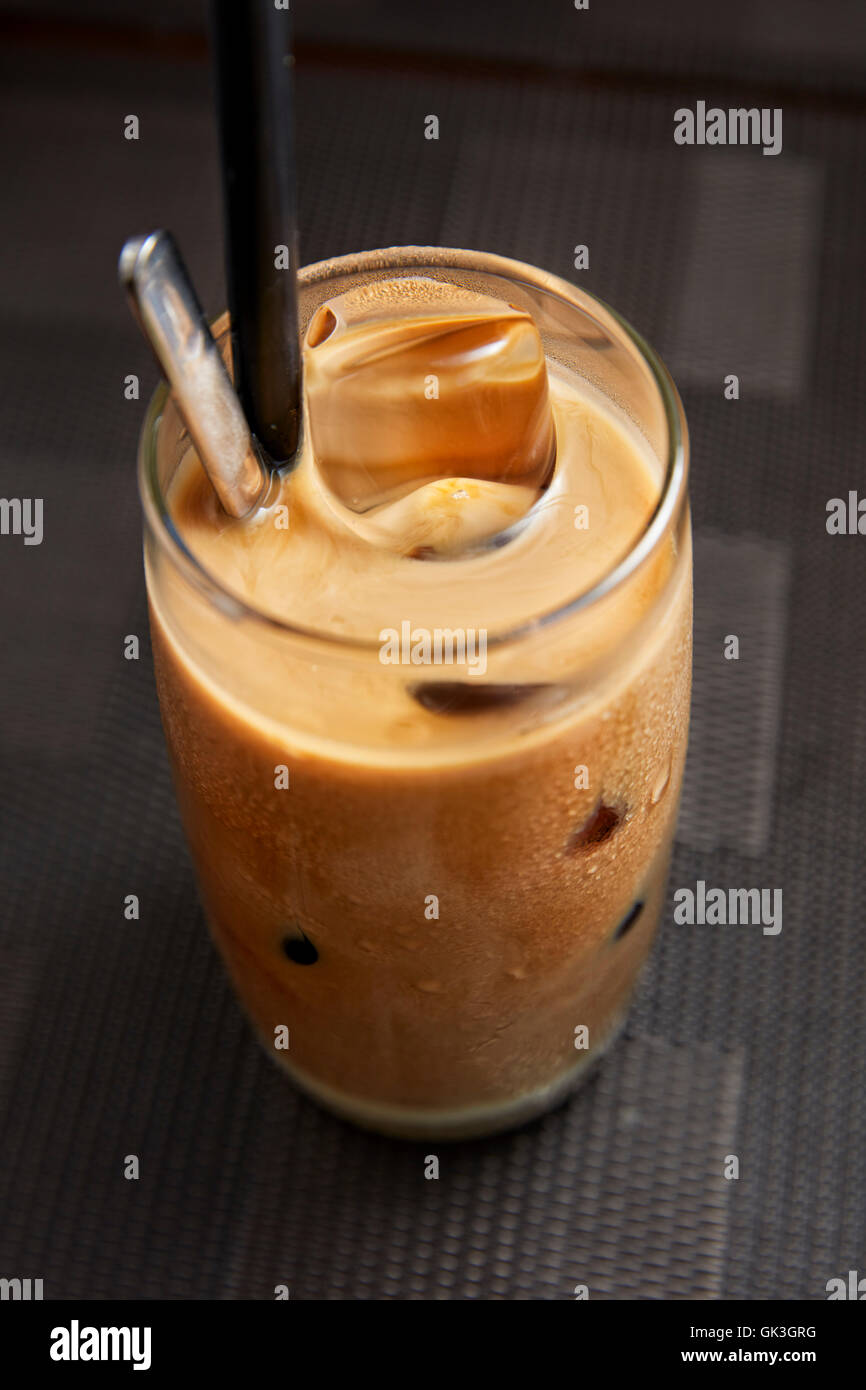 Vietnamese Iced Coffee with Condensed Milk (Ca Phe Sua Da).  Hoi An, Quang Nam Province, Vietnam. - Stock Image