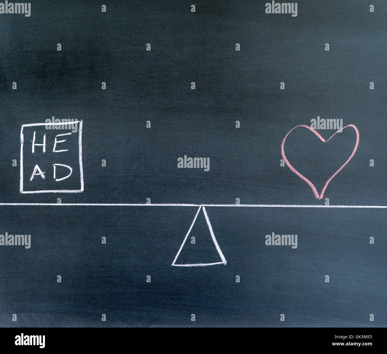 head and heart symbols, scale in equilibrium, chalkboard. - Stock Image