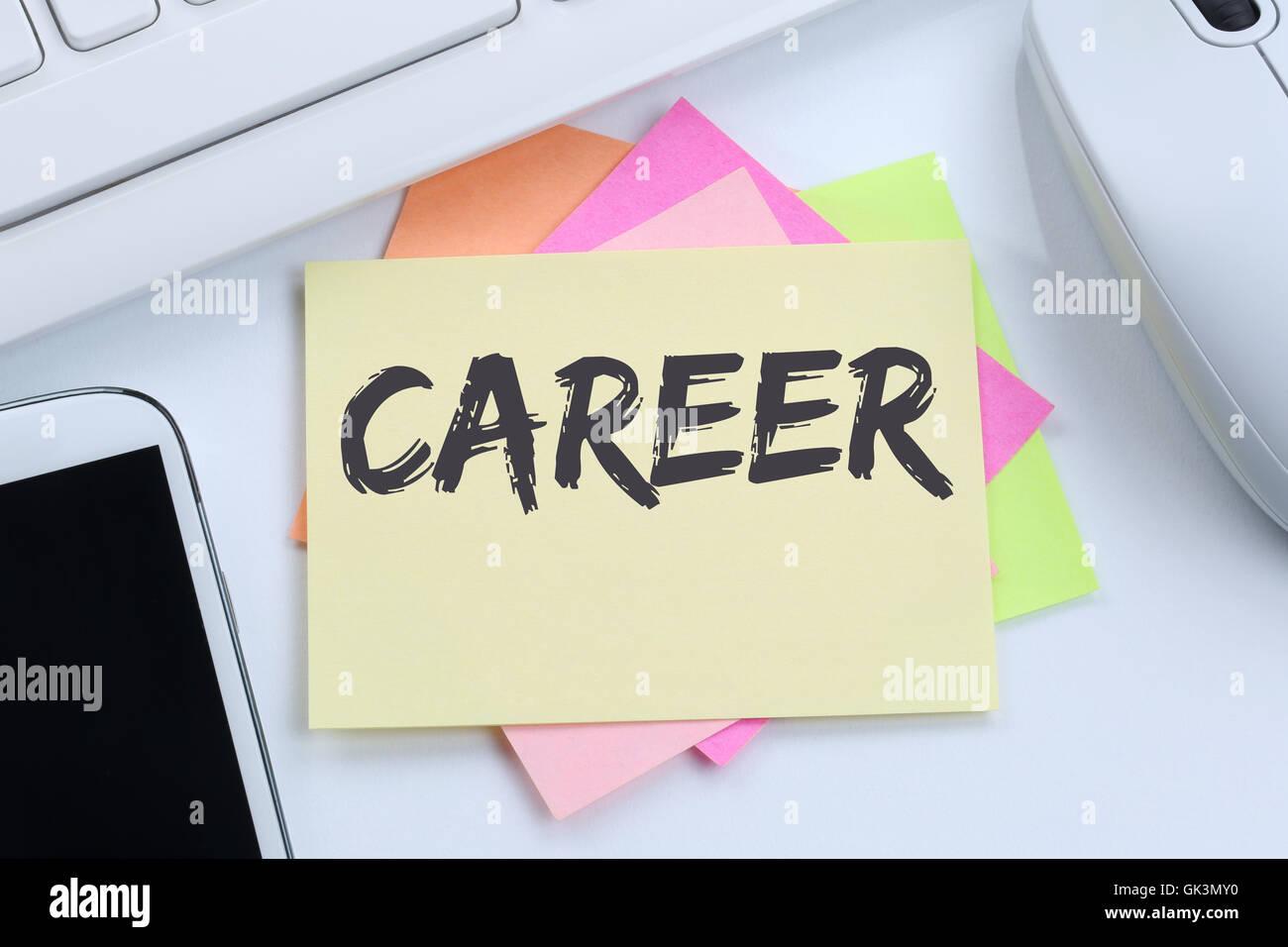 Career opportunities goals success and development business concept desk computer keyboard Stock Photo