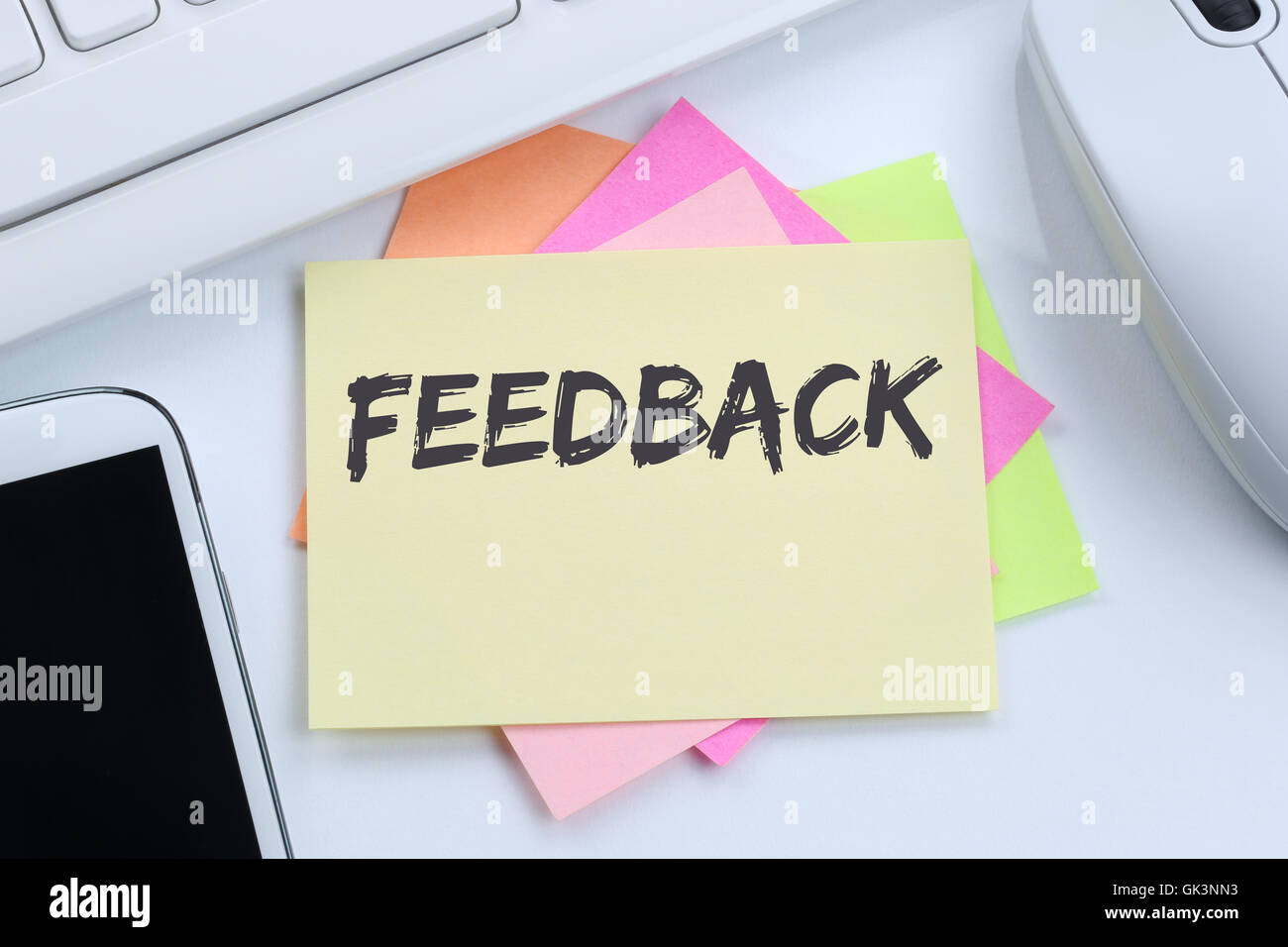 Feedback contact customer service opinion survey business concept review desk computer keyboard - Stock Image