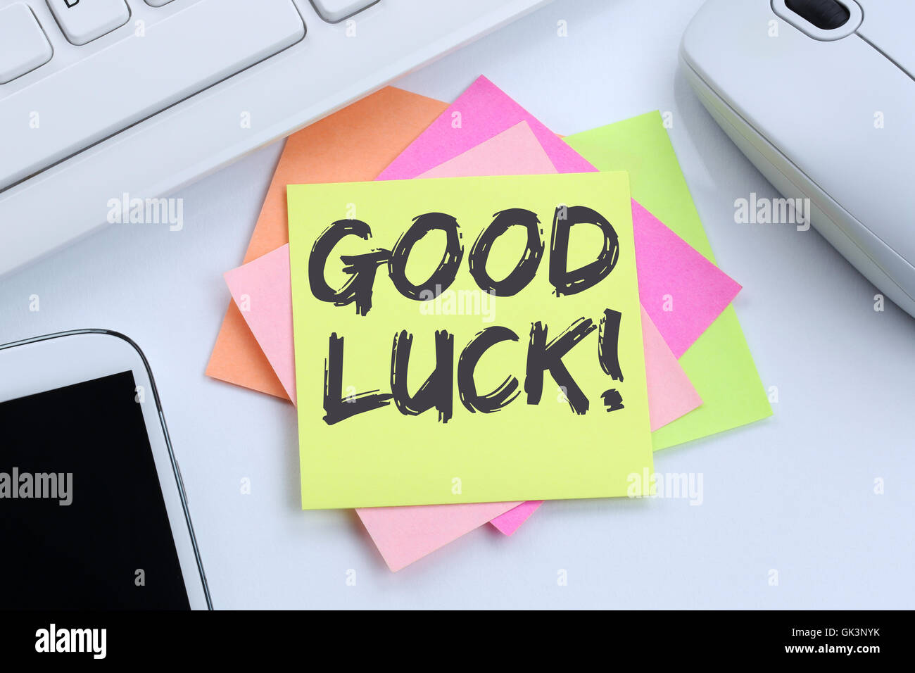Good luck success successful test wish wishing desk computer keyboard - Stock Image