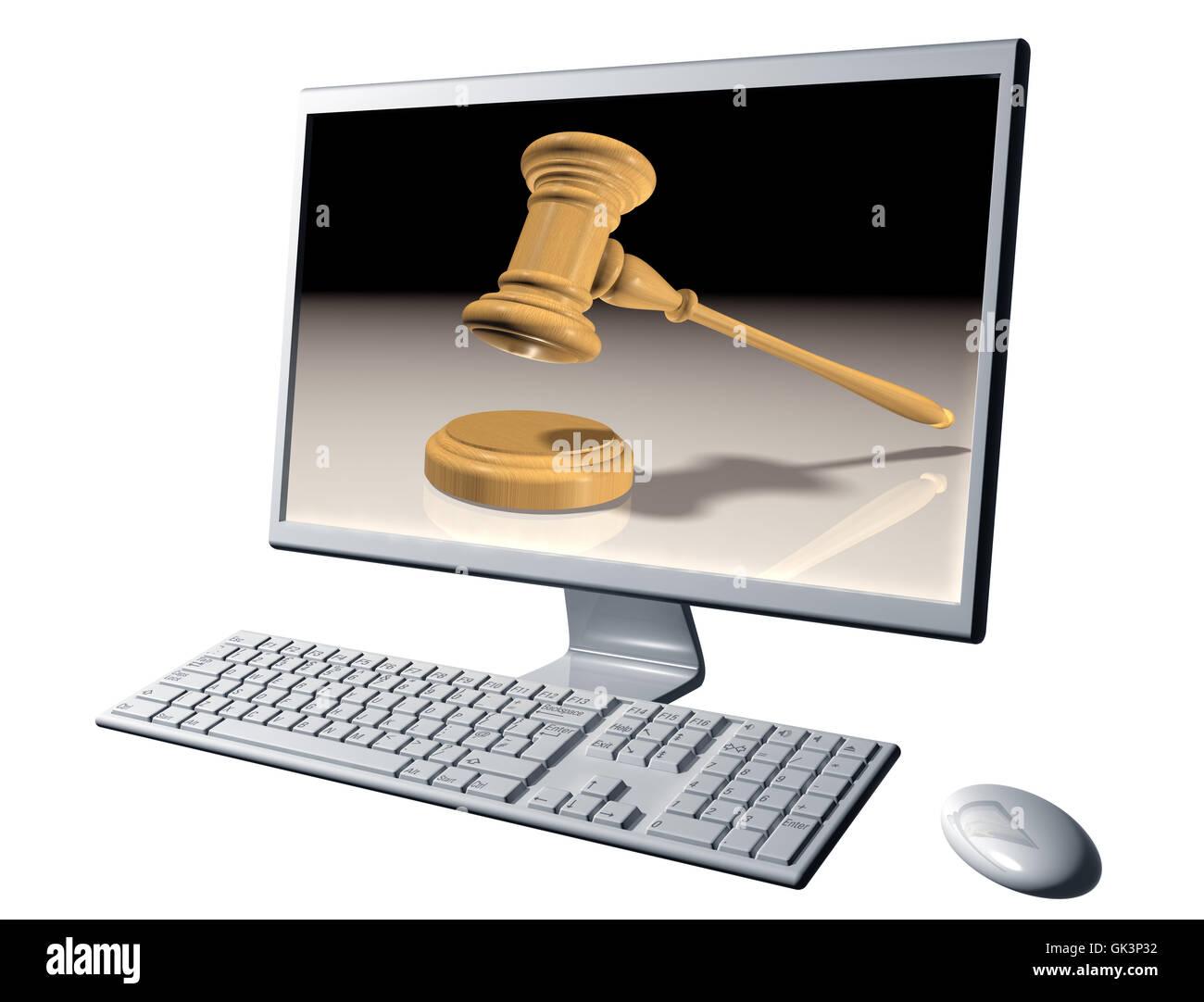 desktop auction bid - Stock Image