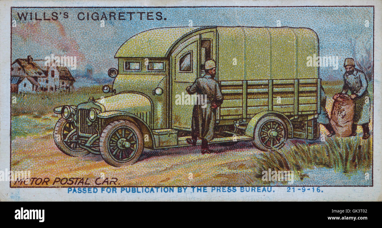 Will's cigarettes card of a Russian postal car - Stock Image