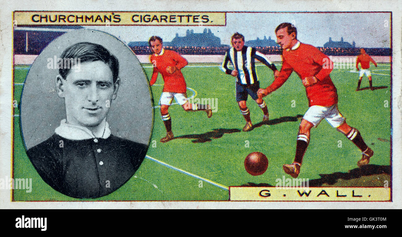 Churchman's cigarette card of footballer George Wall - Stock Image