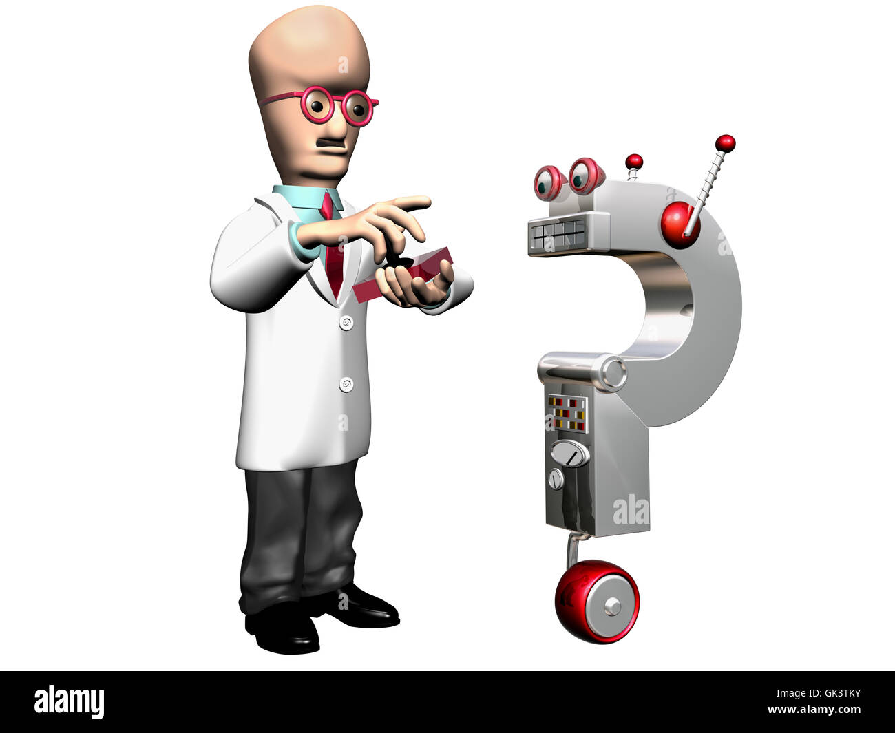 Cartoon Clipart Of A Black And White Running Mad Scientist
