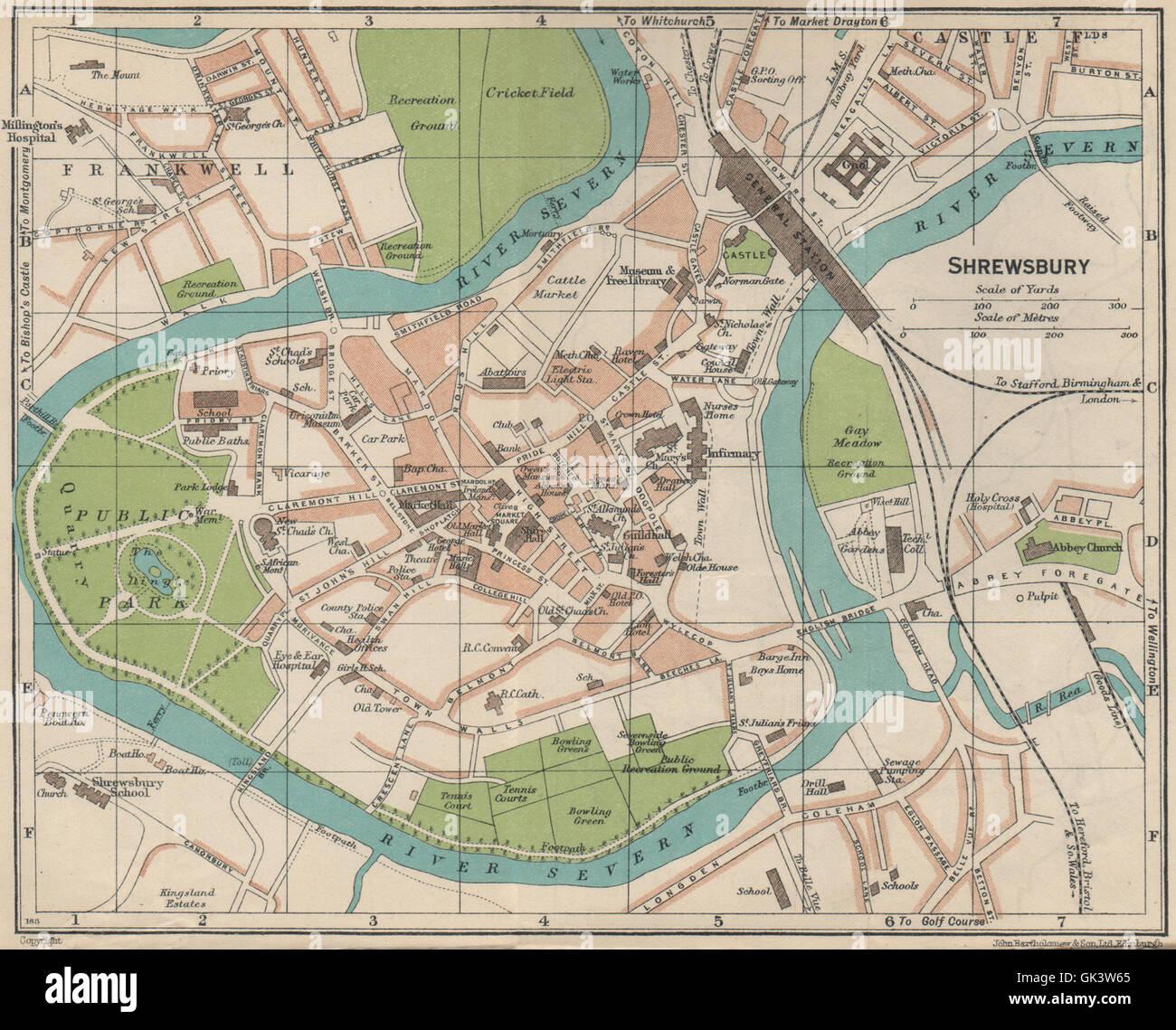 SHREWSBURY. Vintage town city map plan. Shropshire, 1939 Stock Photo ...
