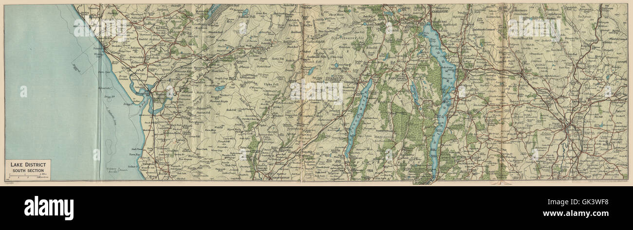 map of south lake district Lake District South Coniston Water Windermere Ambleside Kendal map of south lake district