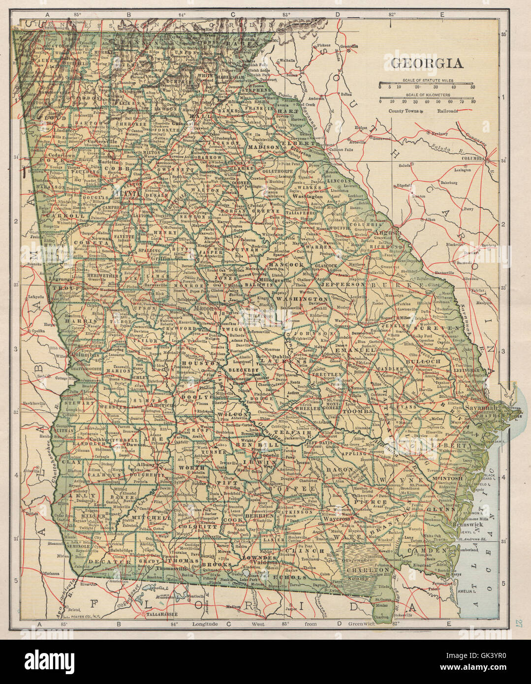 Georgia state map showing railroads. POATES, 1925 Stock Photo ...