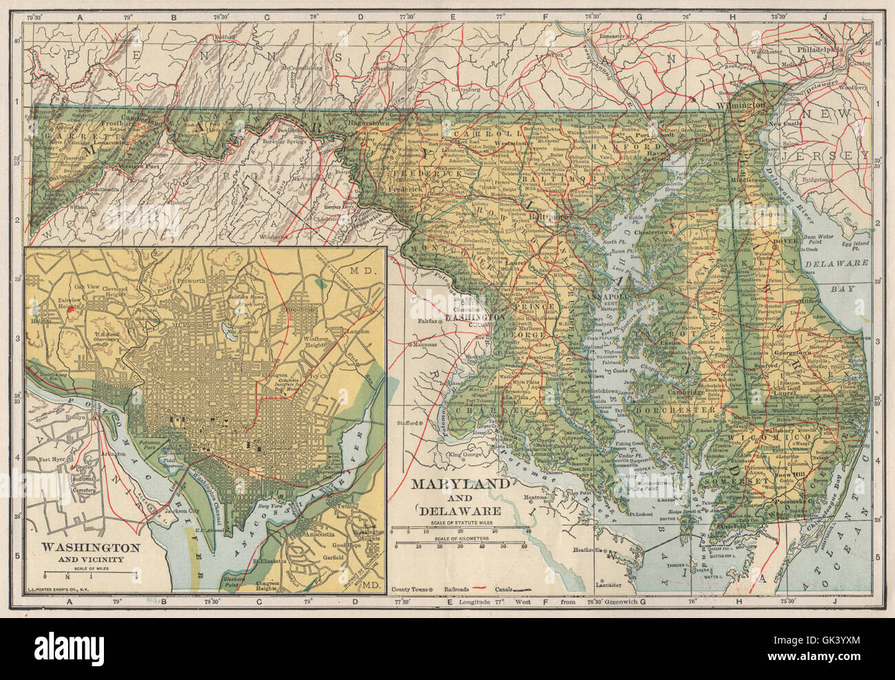 Maryland, Delaware & Washington DC state map showing railroads Stock ...