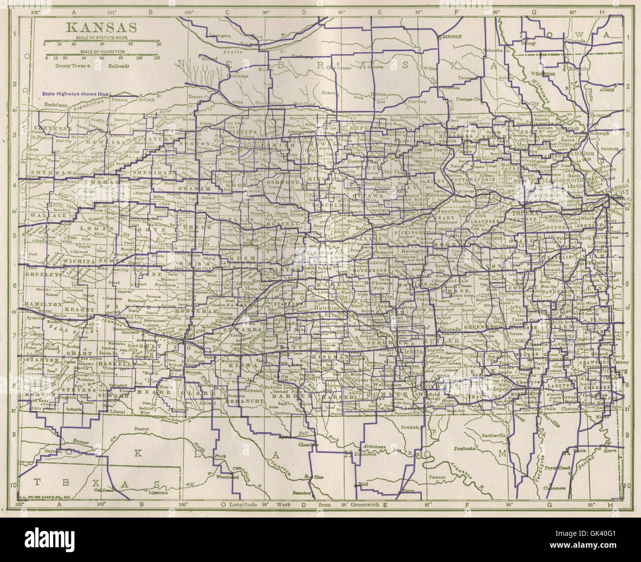 Kansas State Highways. POATES, 1925 vintage map Stock Photo ... on missouri map, kansas small town map, printable kansas map, kansas interstate map, kansas elevation map, the state map, usa map, herington kansas map, colorado map, kansas lakes map, arkansas map, kansas counties map, kansas road map, kansas map with all cities, united states map, tennessee state map, kansas us map, oklahoma map, nebraska map, colby kansas map,