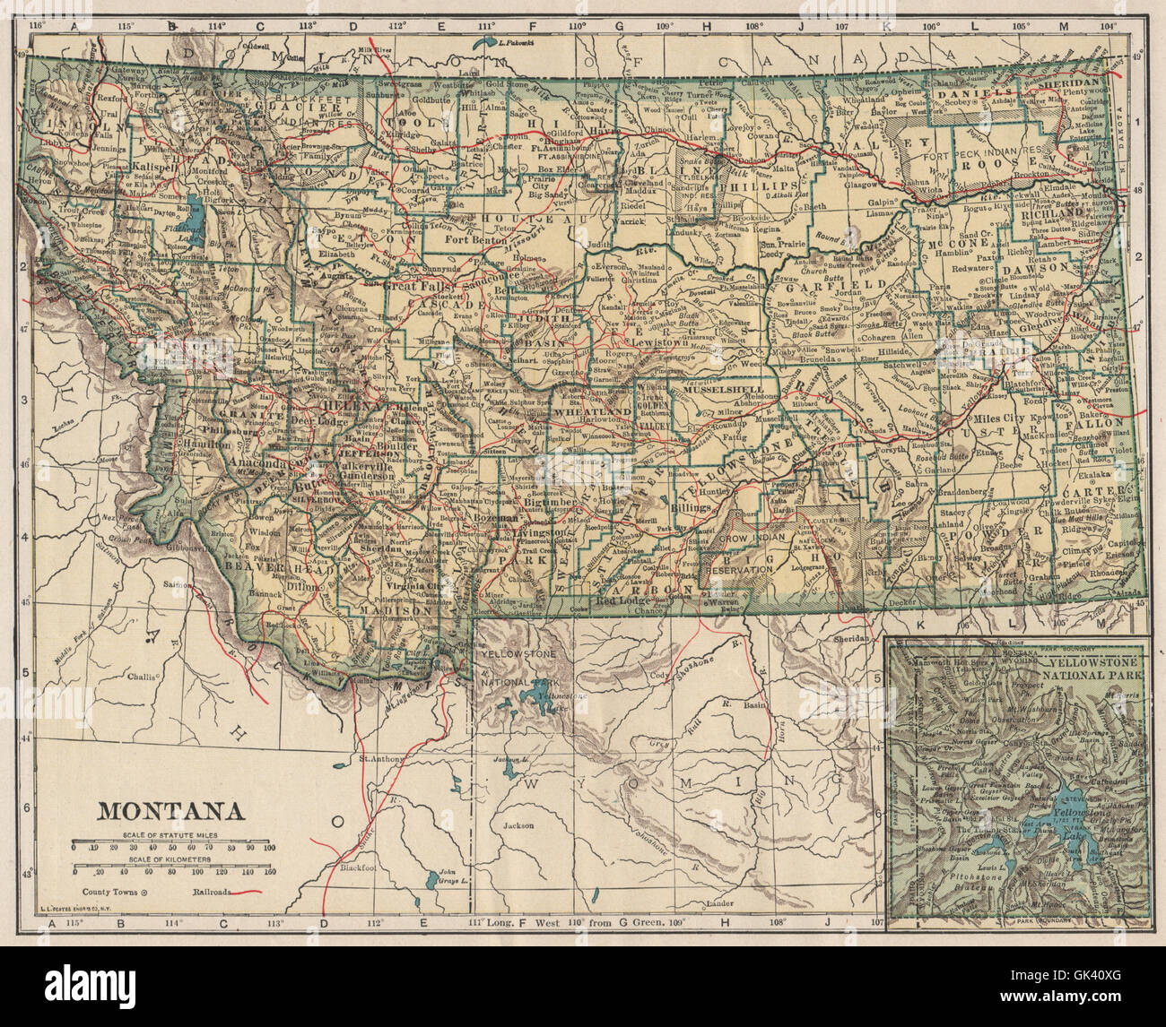 Montana Inset Yellowstone National Park State Map With Railroads