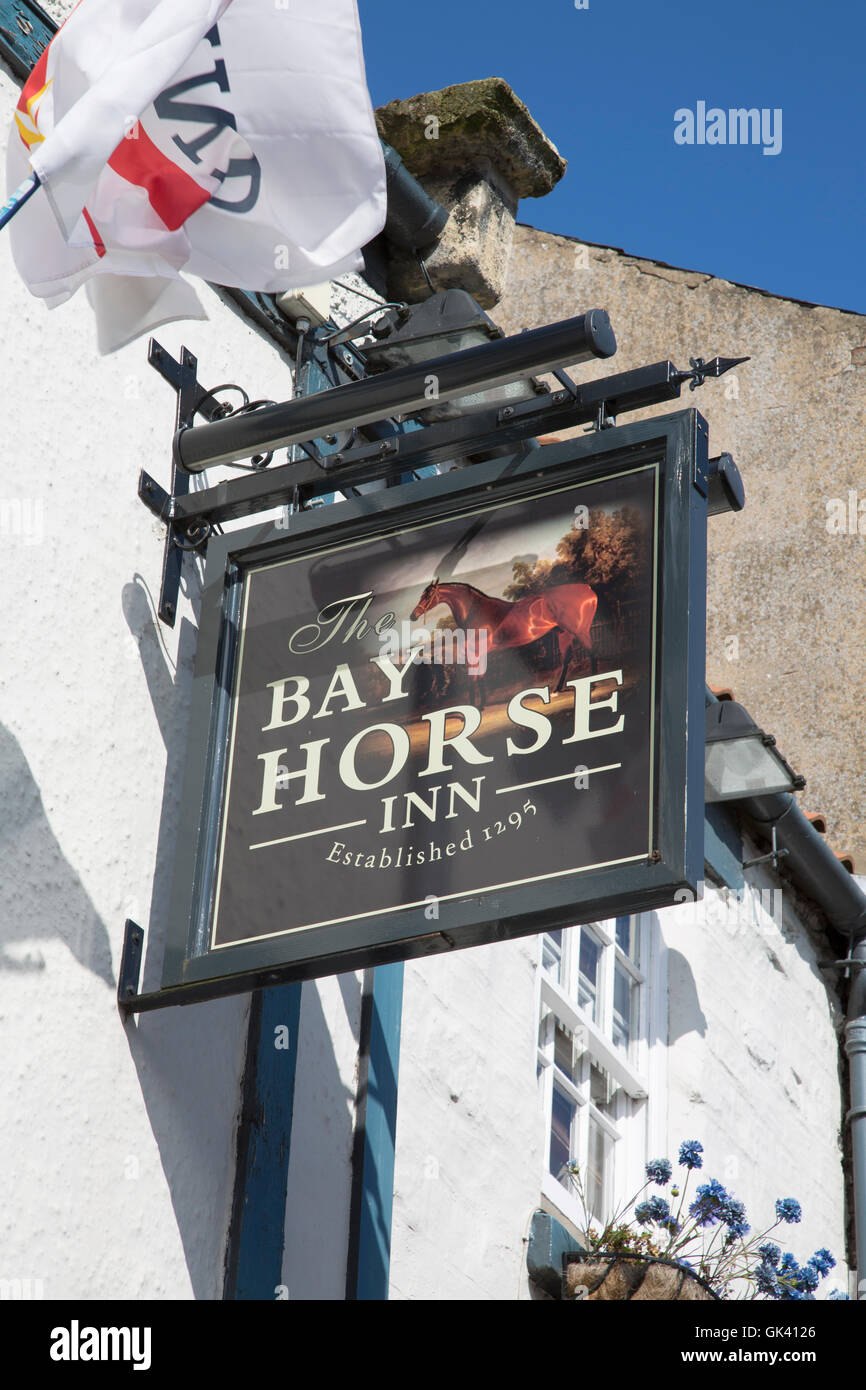 Bay Horse Inn Pub Sign, Pickering, Yorkshire, England, UK - Stock Image