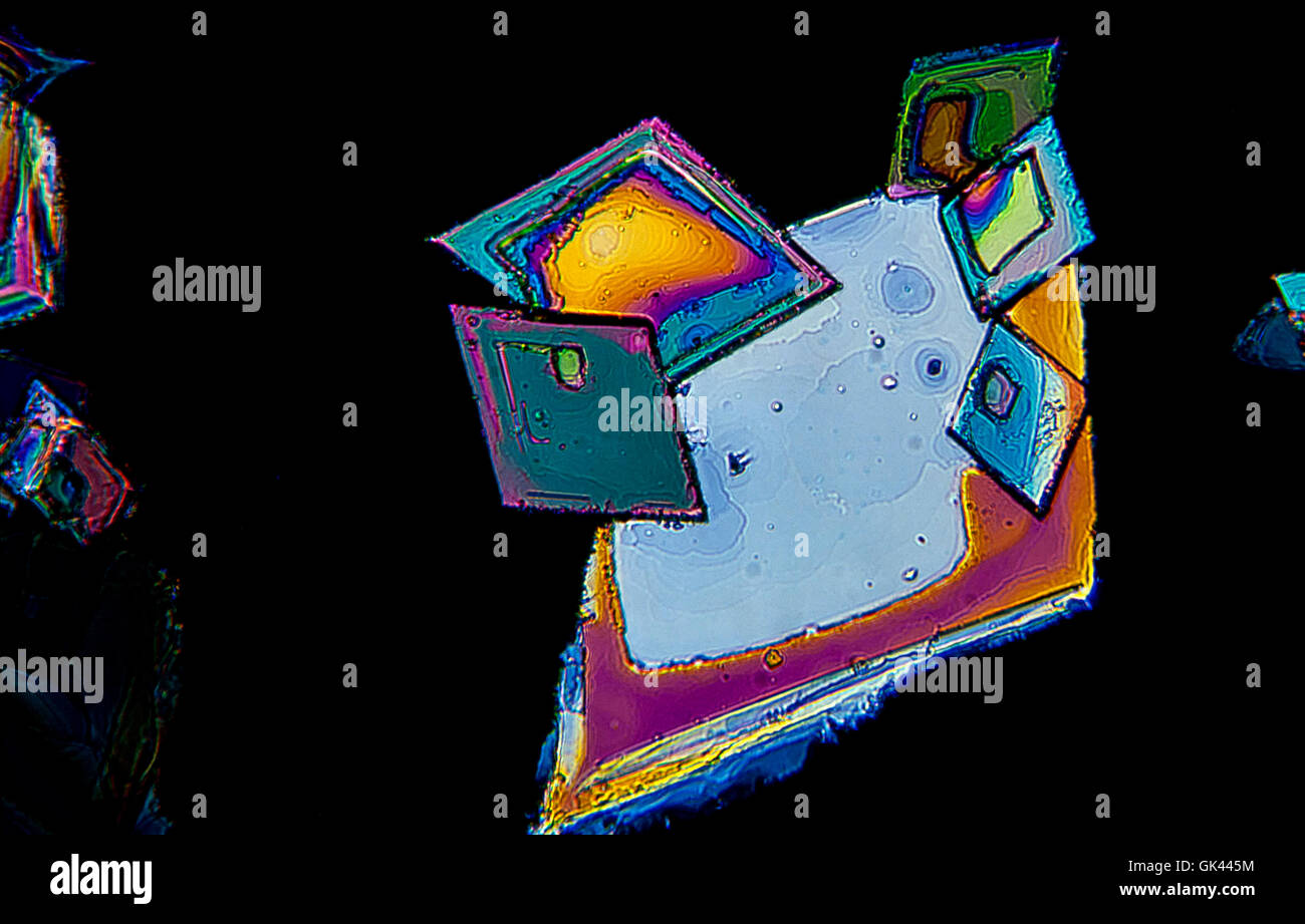 Sulfur crystals photomicrography with polarized light. Portugal - Stock Image