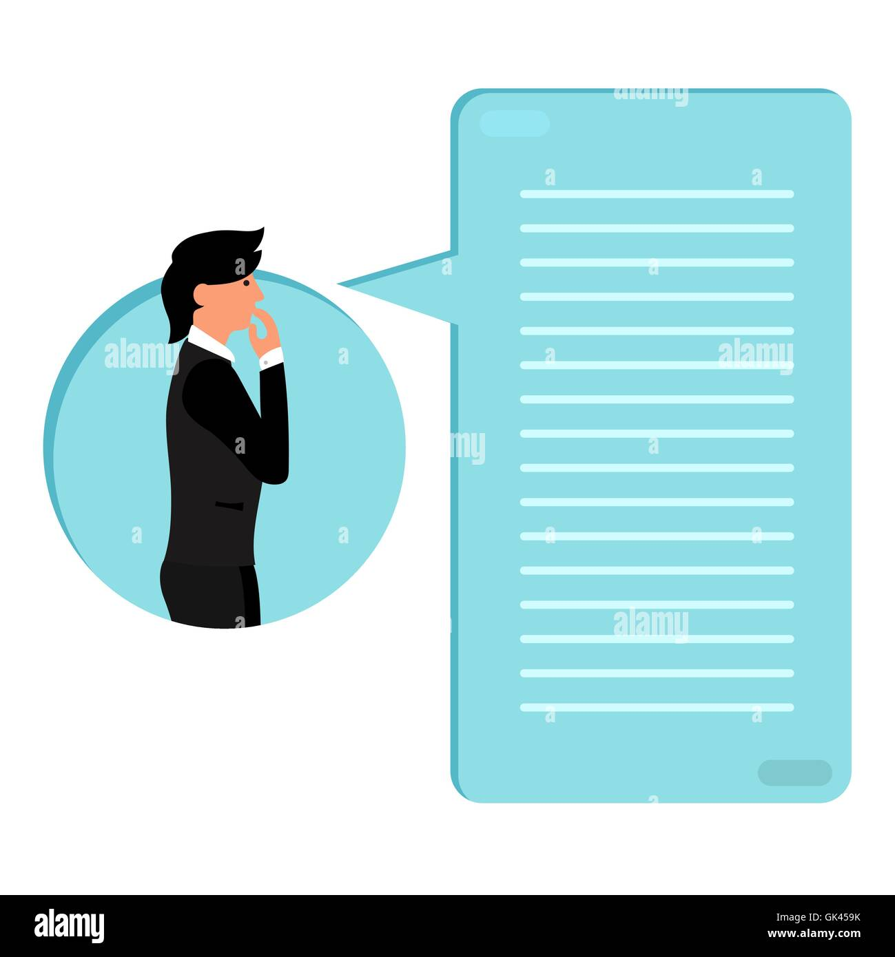 Thinking human with bubble with loading bar of his thoughts. Thinking list. Template or blank with business concept. - Stock Vector