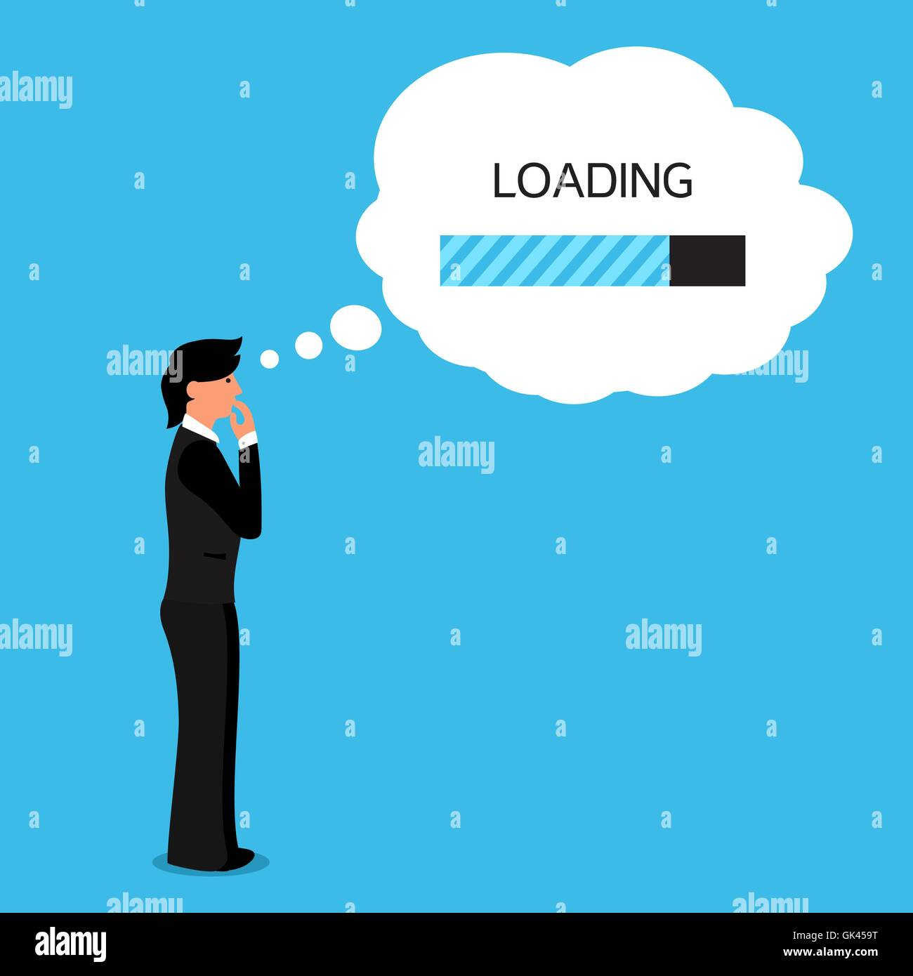 Thinking human with bubble with loading bar of his thoughts. Vector - Stock Vector