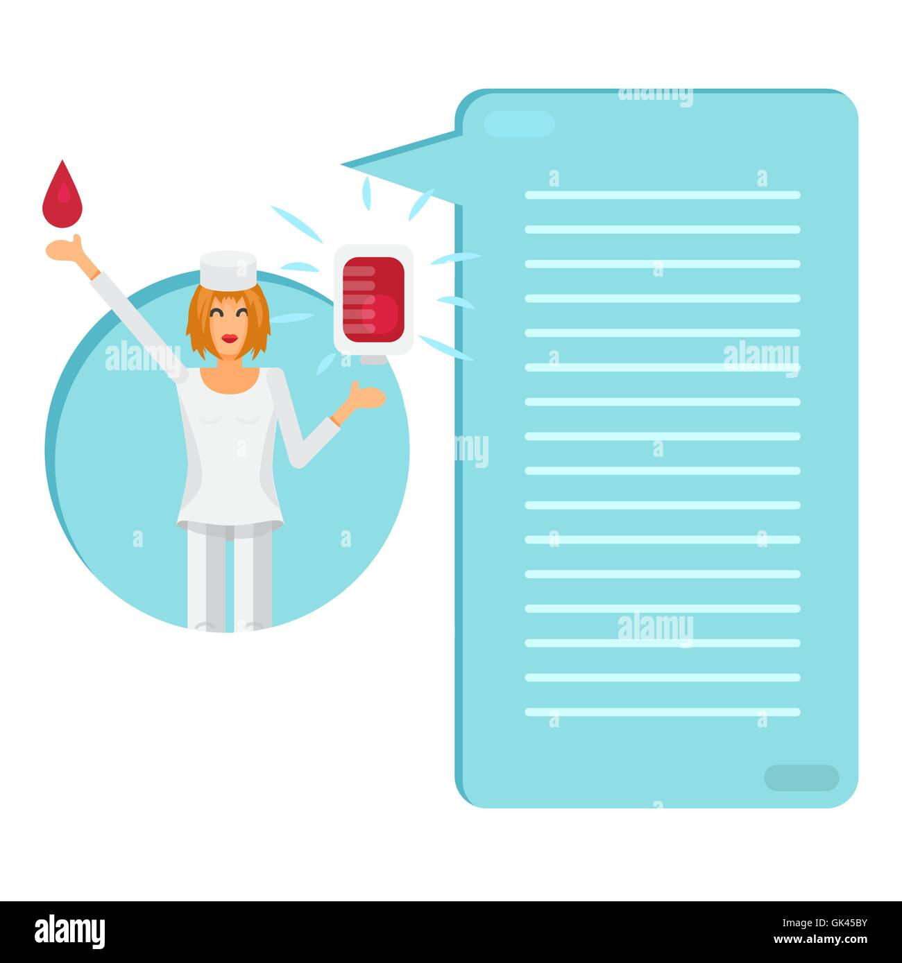 nurse with blood bag for donor donate blood illustration thinking