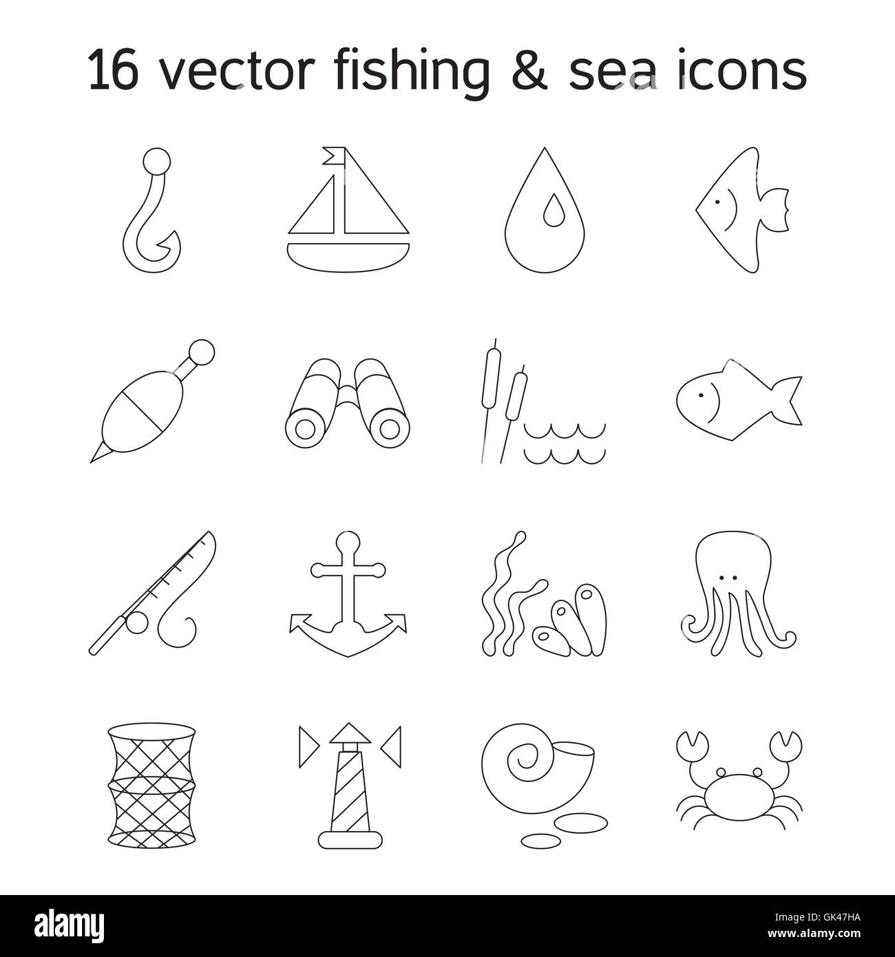 Isolated marine and fishing icons set. Vector Stock Vector