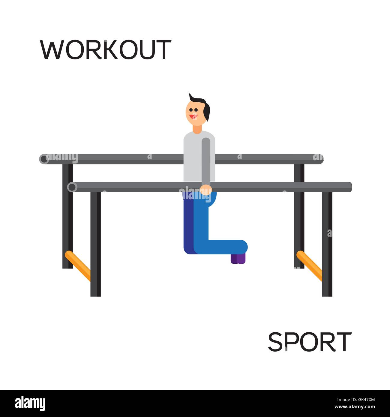Sportman with sports equipment for street workout and pull-up bar. Vector - Stock Image