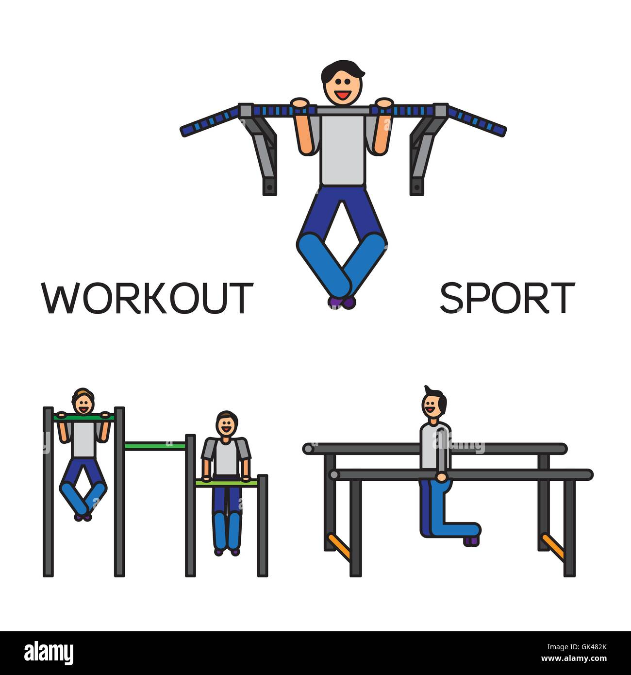 Sportman with sports equipment for street workout and pull-up bar. Vector Stock Vector