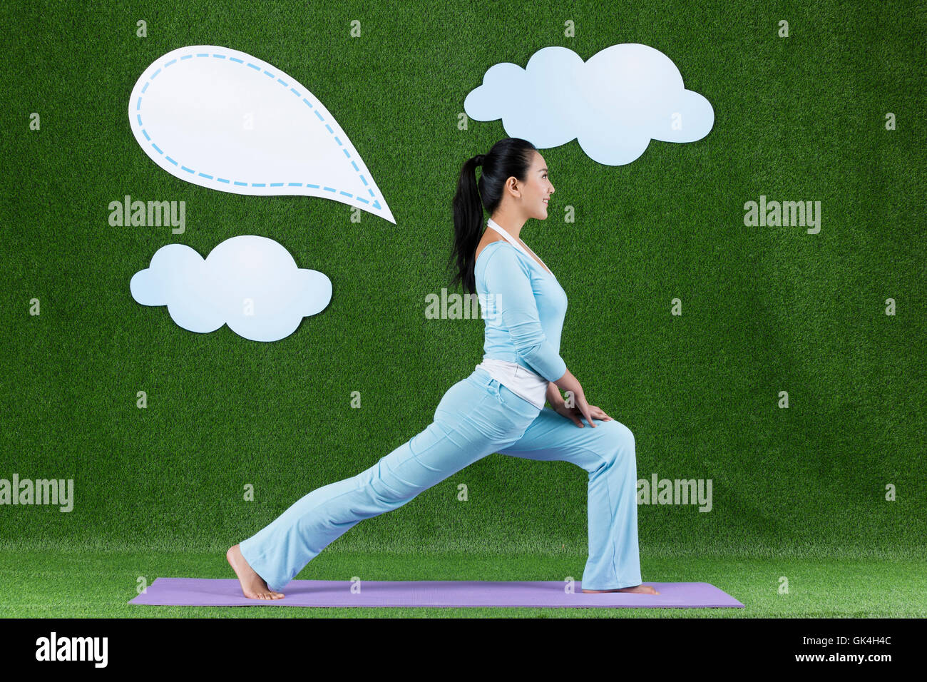 Grassland Creative Women Yoga - Stock Image