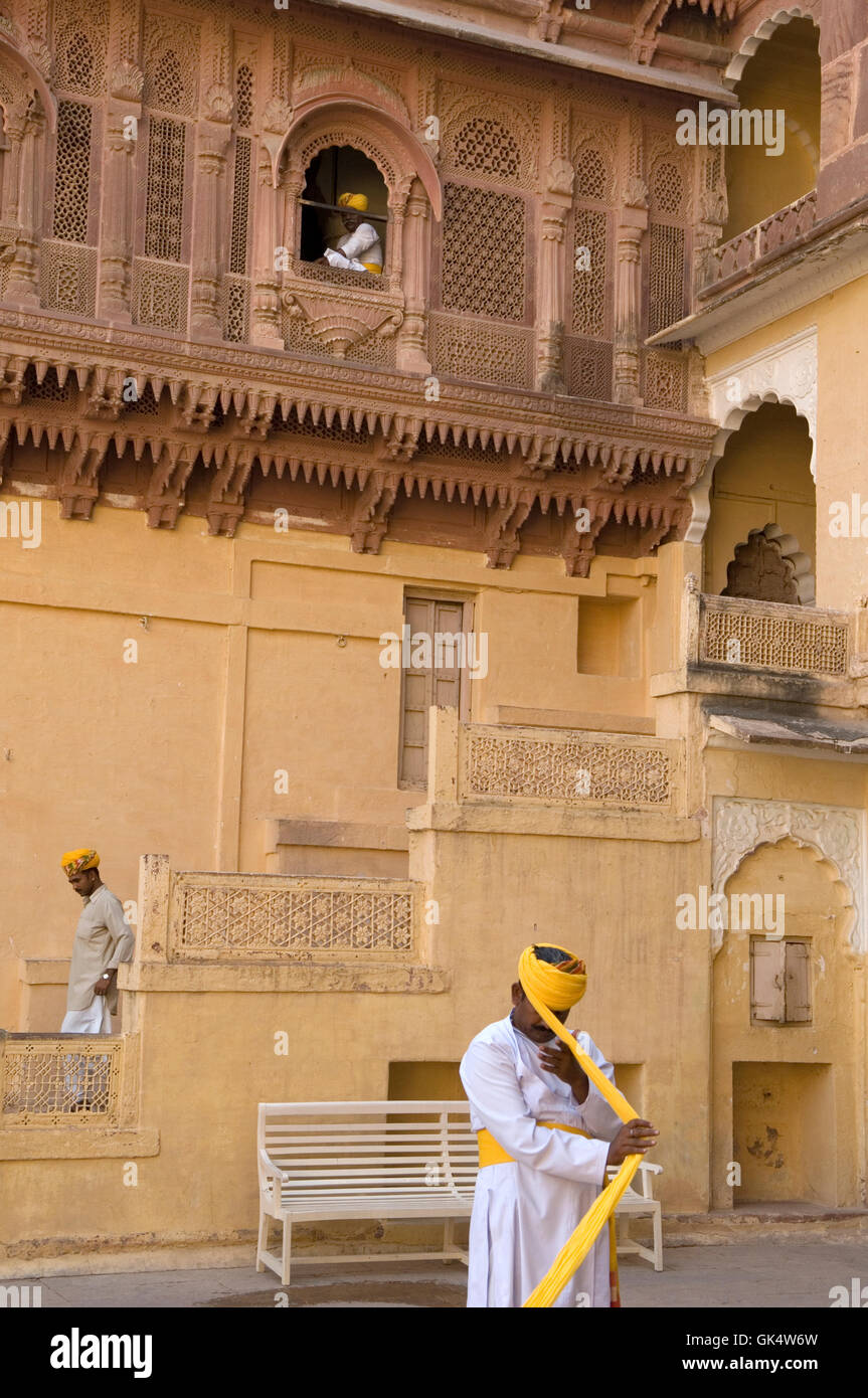 2009, Jodhpur, India --- Guards putting on turbans at Meherengarh Fort --- Image by © Jeremy Horner - Stock Image