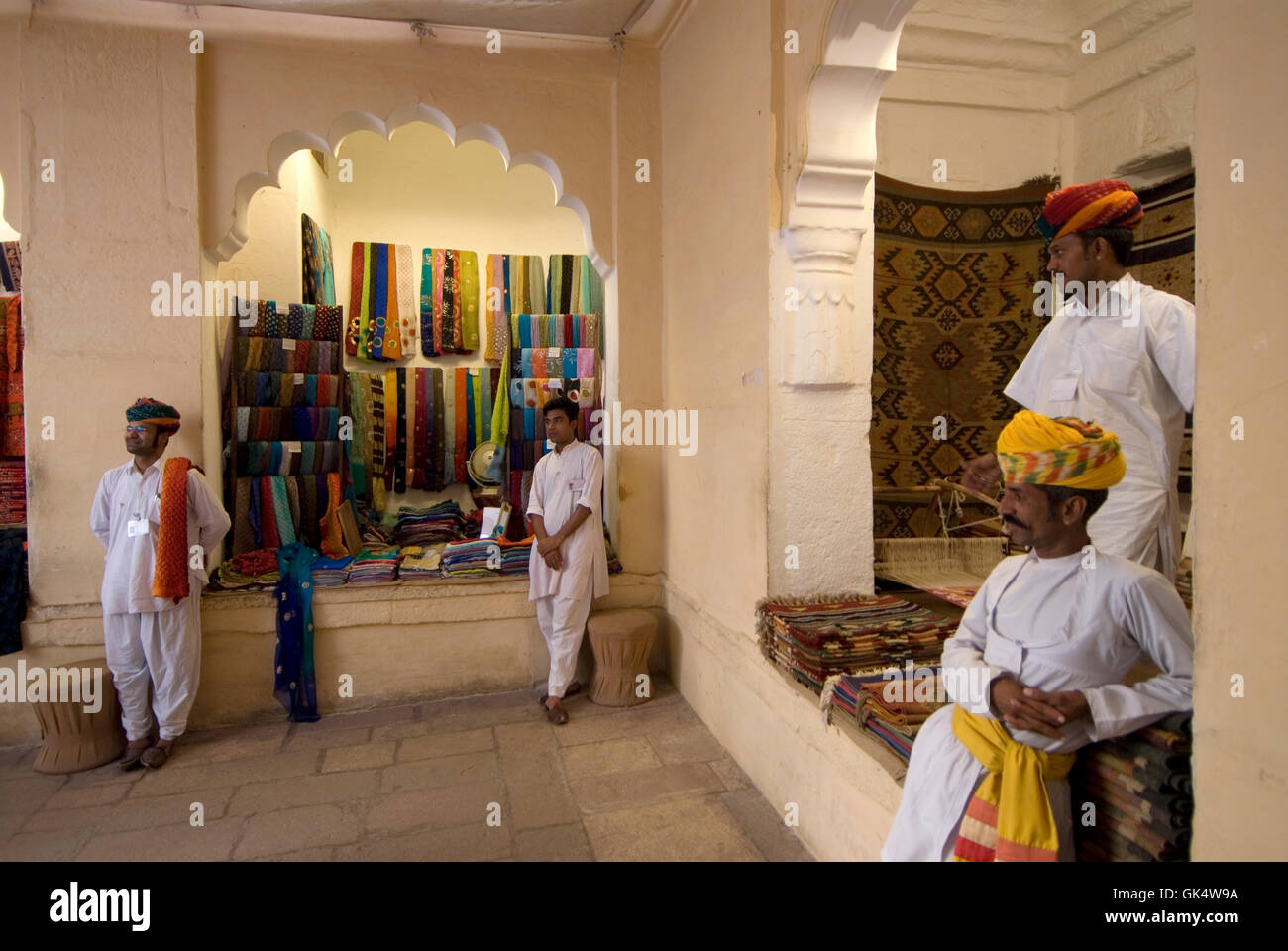 2009 --- Tourist souvenir shops inside Mehrangarh Fort in Jodhpur, India. The fort contains a museum and other architectural - Stock Image