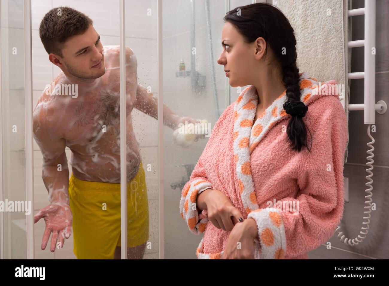 Mature women in communal shower