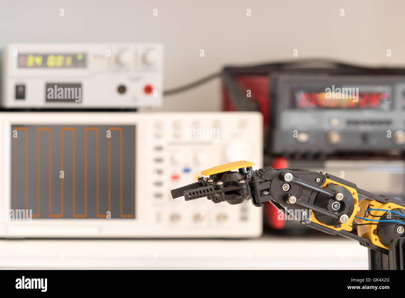 Plastic model of industrial robotics arm Robot manipulator - Stock Image