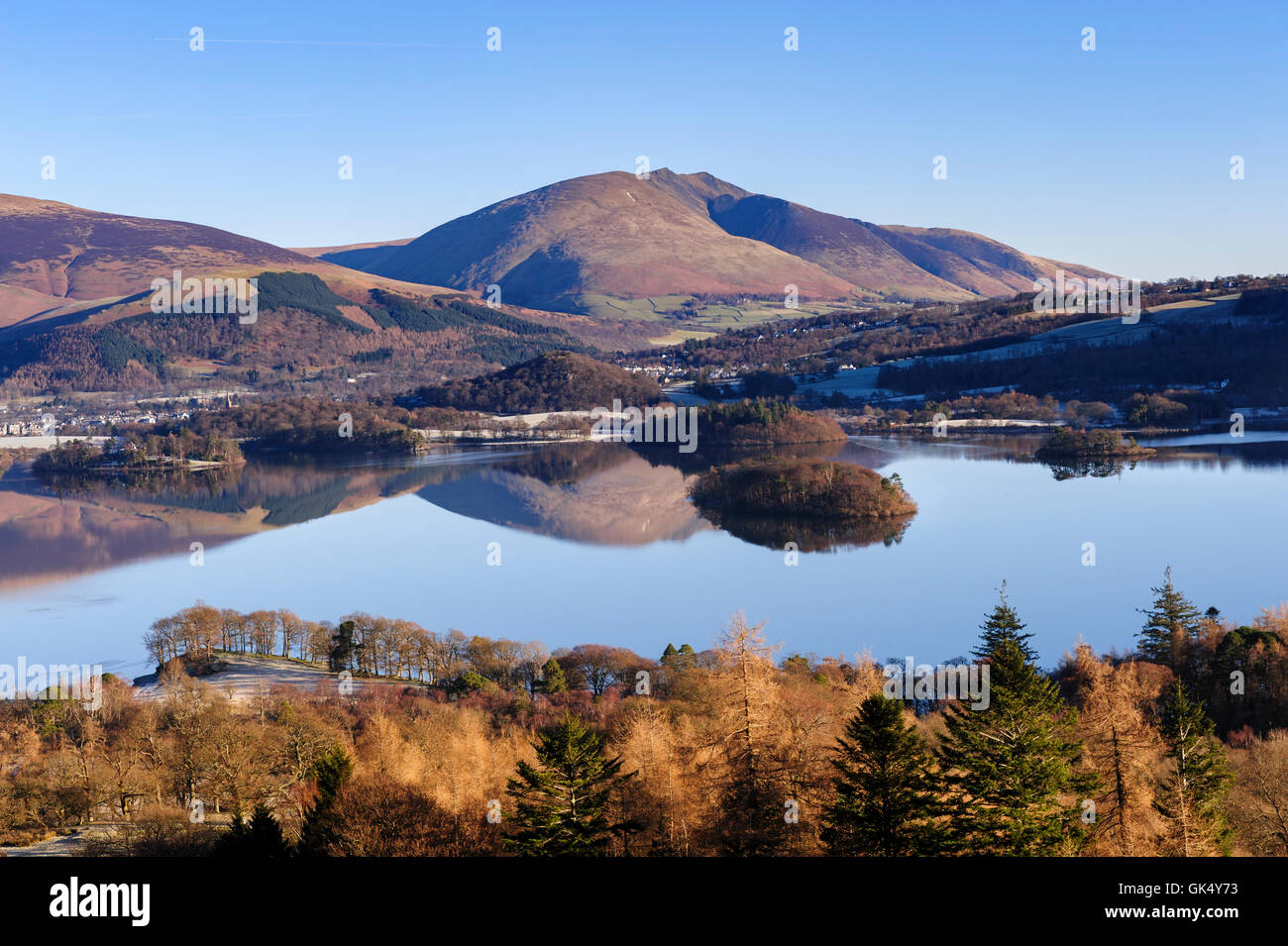 Derwent Water, Keswick, and Blencathra from Catbells - Stock Image