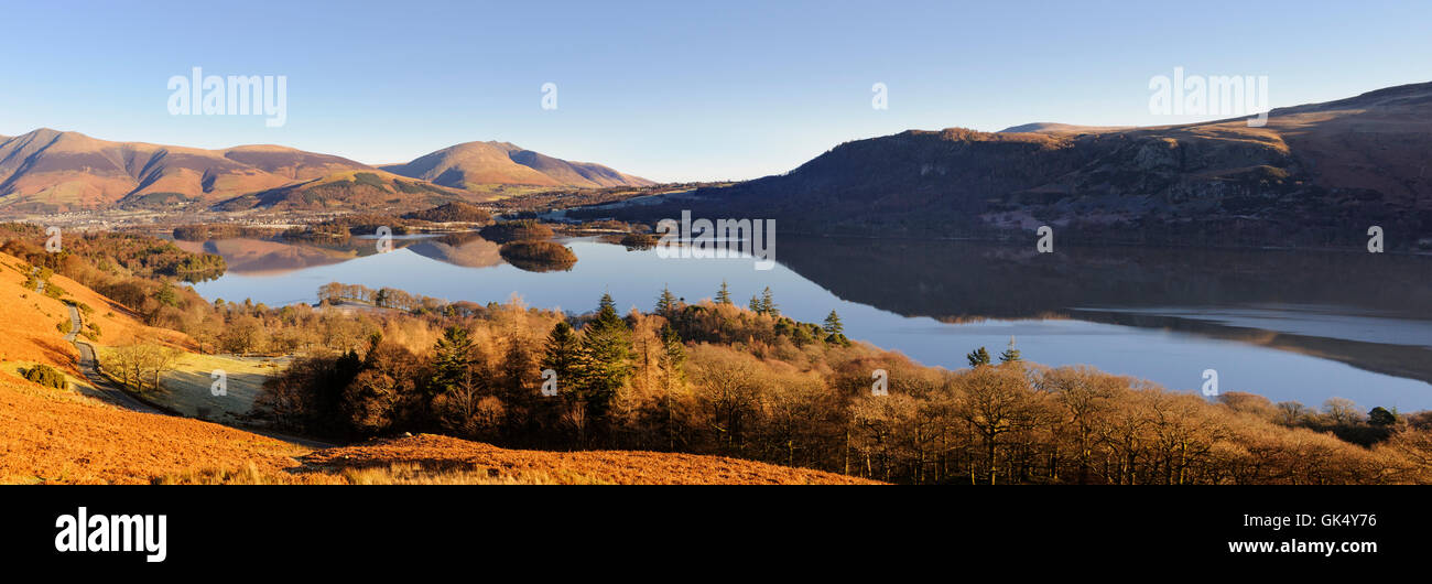 Derwent Water and Keswick from Catbells - Stock Image