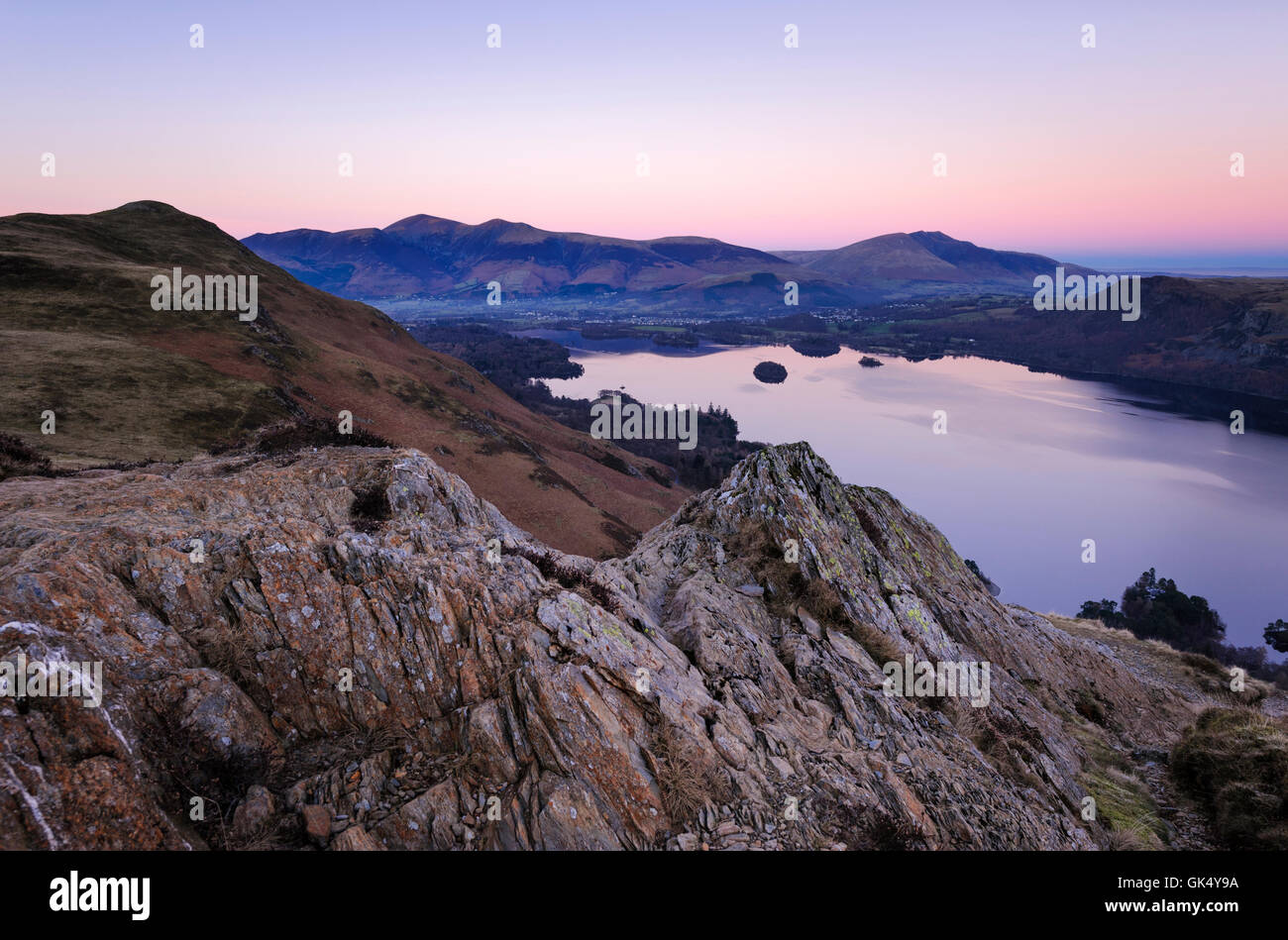 Evening View of Derwent Water from Catbells - Stock Image