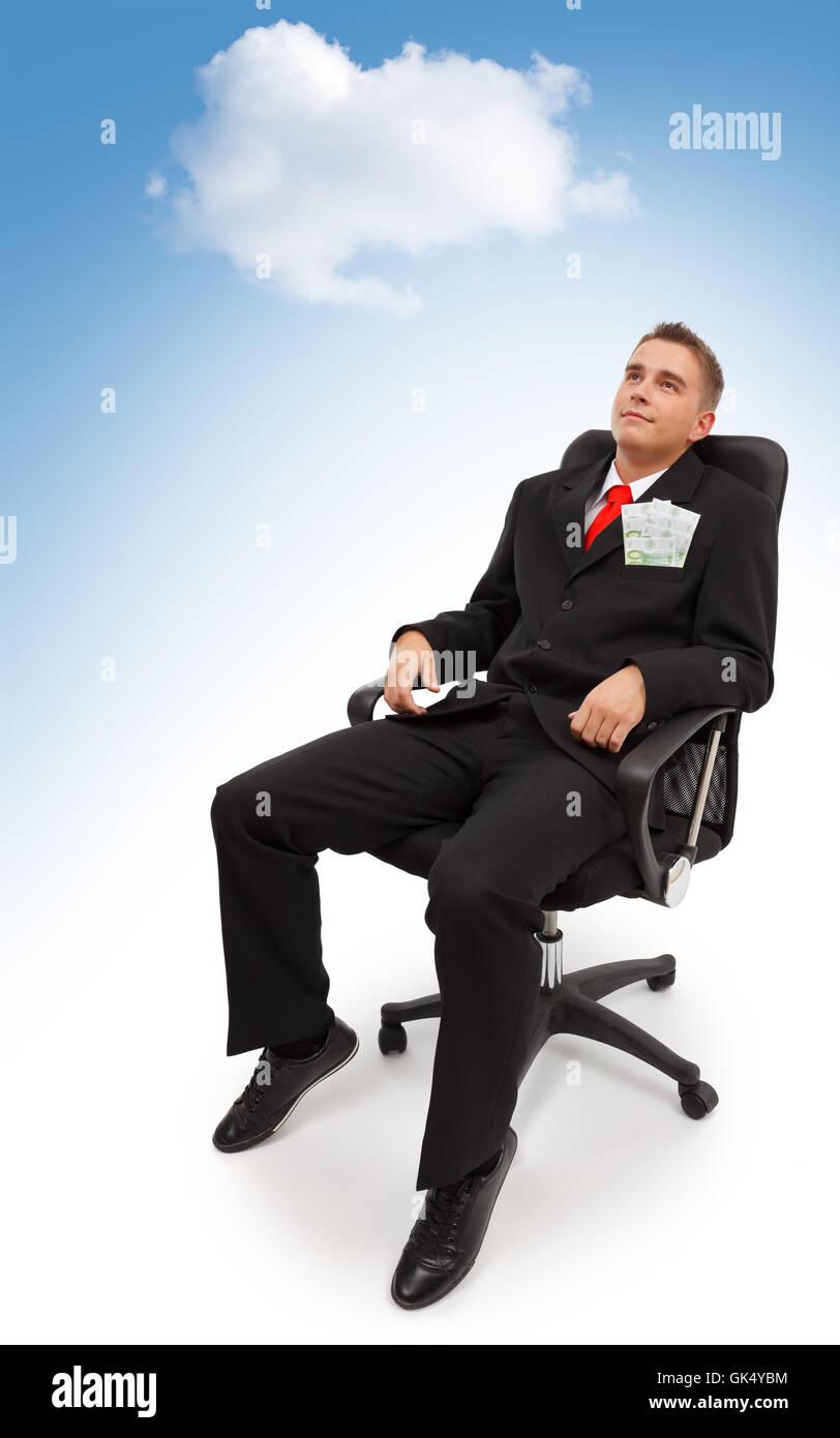cloud euro business man - Stock Image