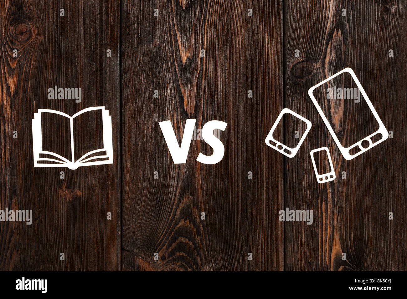 Book Vs Ebook Or Pad Abstract Paper Conceptual Image Stock