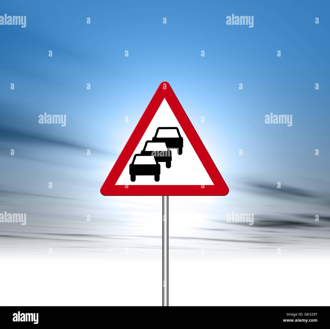 sign signal car - Stock Image