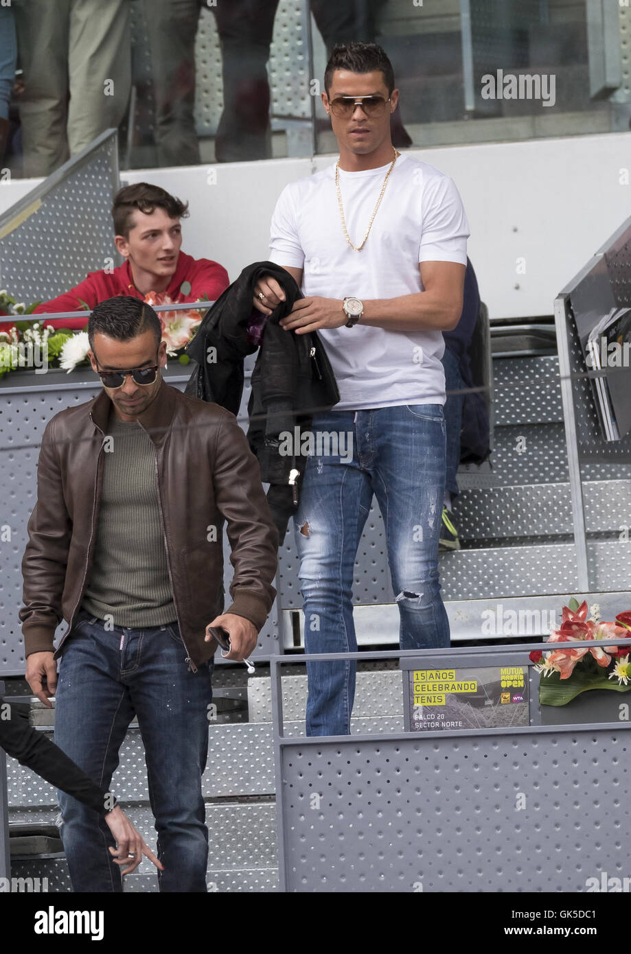 Portugal and Real Madrid striker Cristiano Ronaldo attends the Mutua Madrid  Open Quarter Final between Rafael Nadal and João Sousa Featuring  Cristiano  ... d9ef3d299