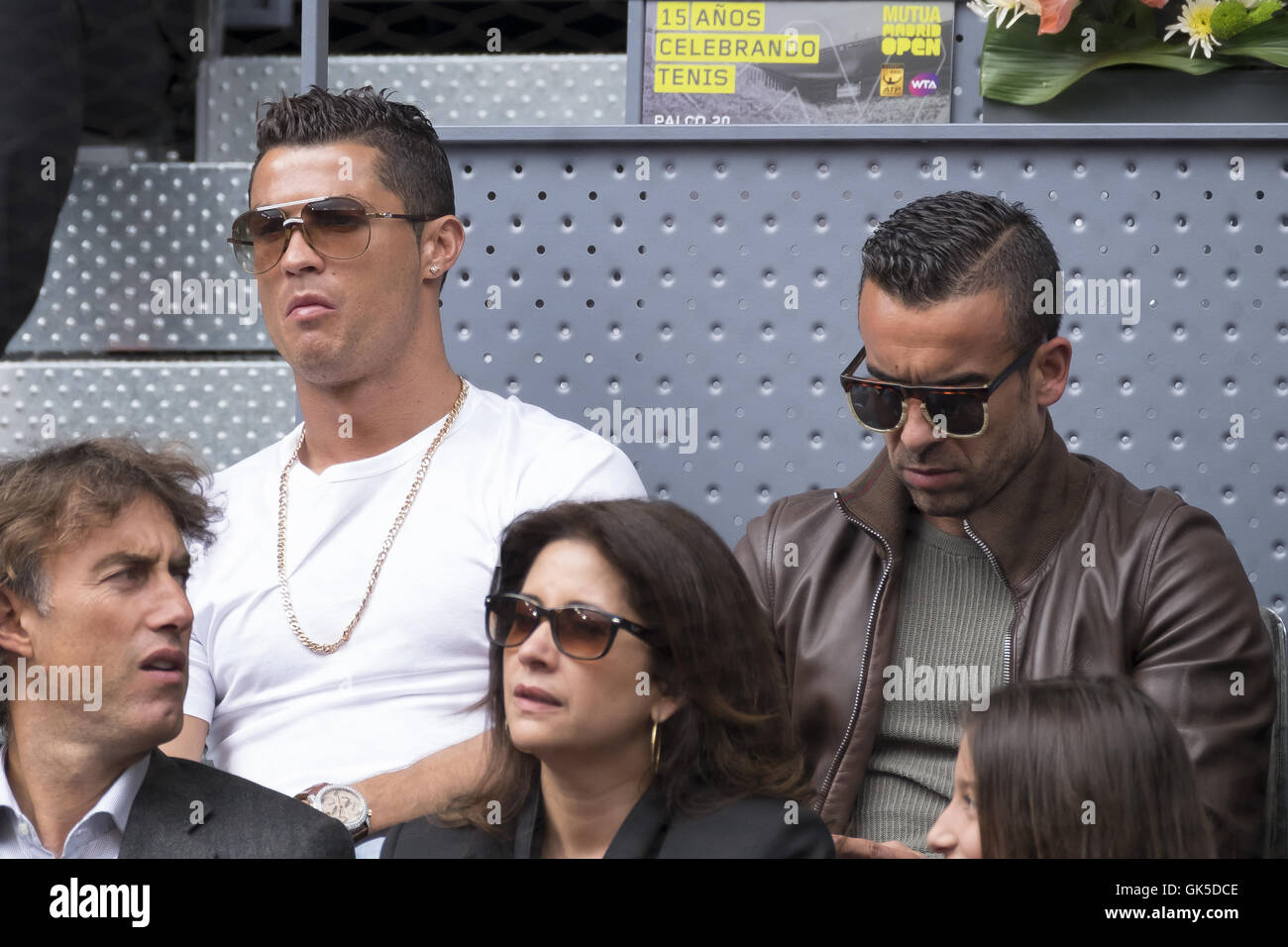 Portugal and Real Madrid striker Cristiano Ronaldo attends the Mutua Madrid  Open Quarter Final between Rafael 4918eb301