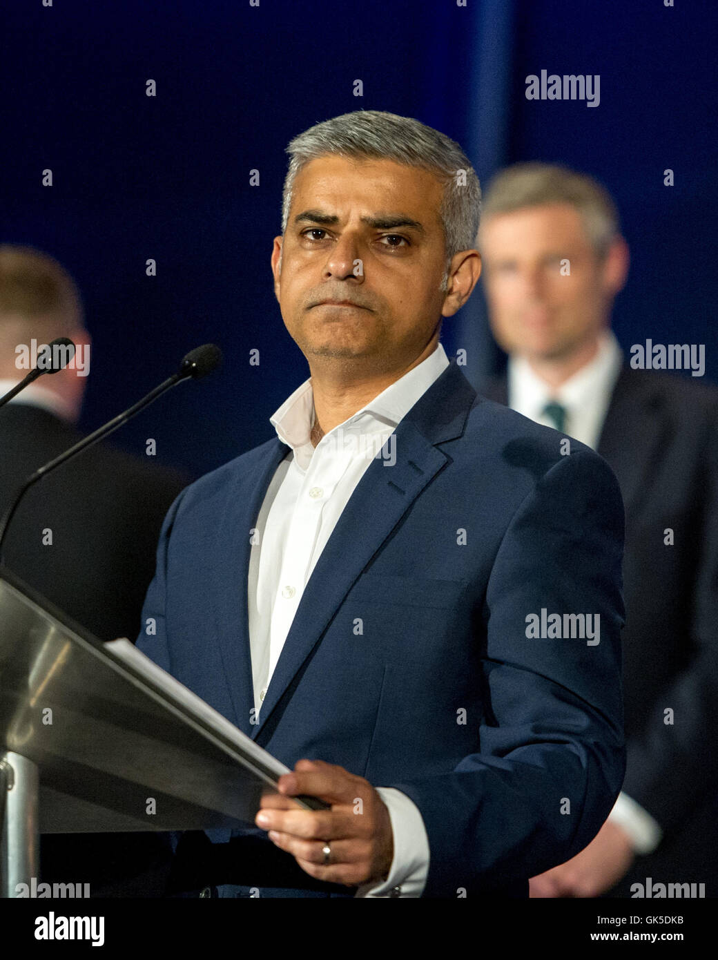 Sadiq Khan takes the stage after being elected as the new Mayor of London  Featuring: Sadiq Khan Where: London, - Stock Image