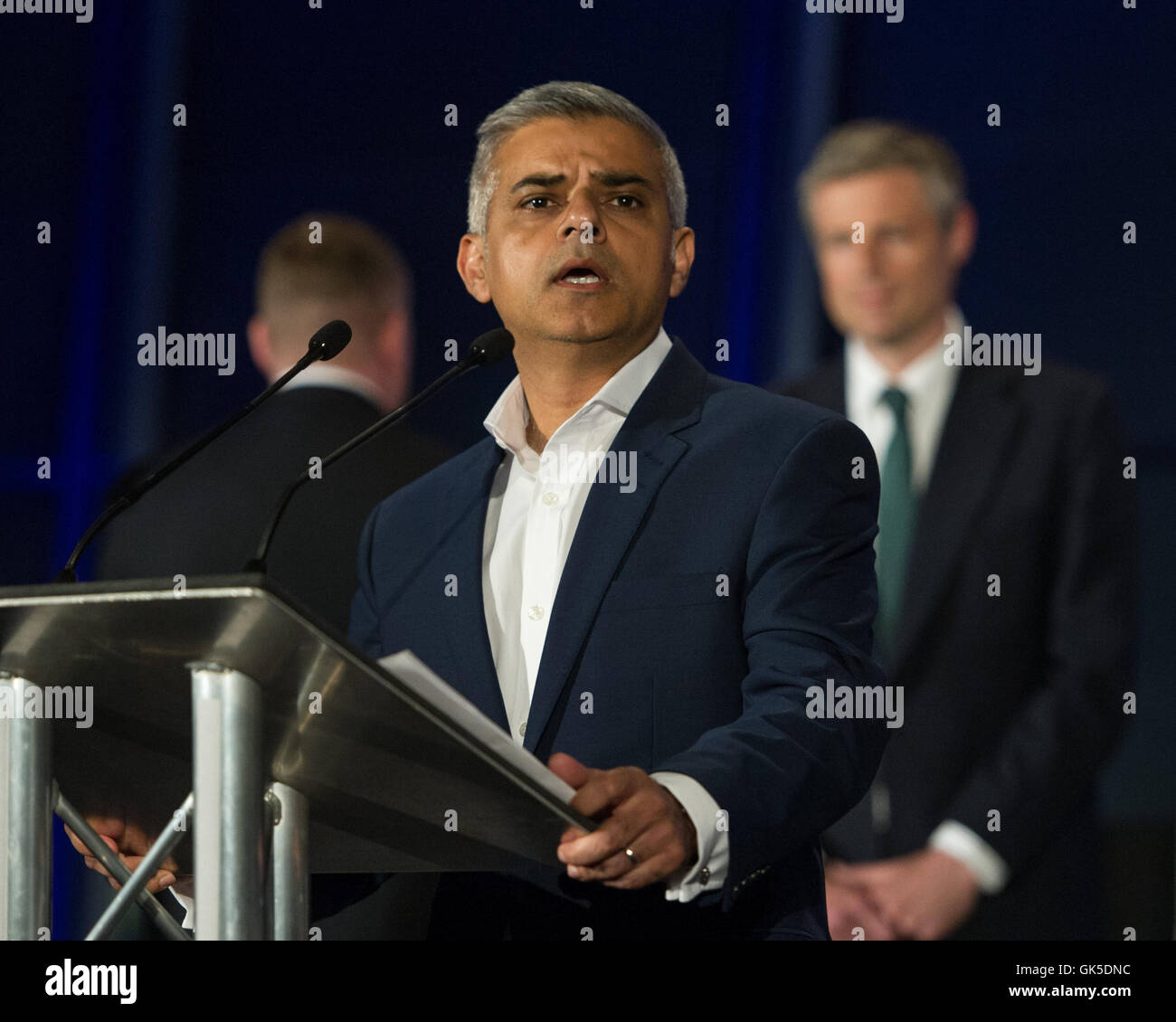 Sadiq Khan takes the stage after being elected as the new Mayor of London.  Featuring: Sadiq Khan Where: London, - Stock Image