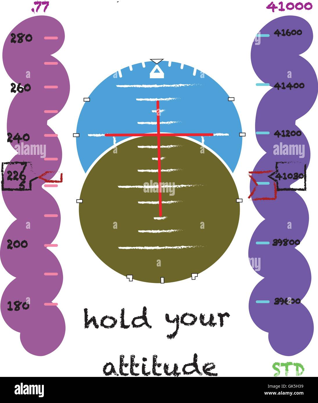 aircraft horizontal situation indicator design with text 'hold your attitude' for printing - Stock Image