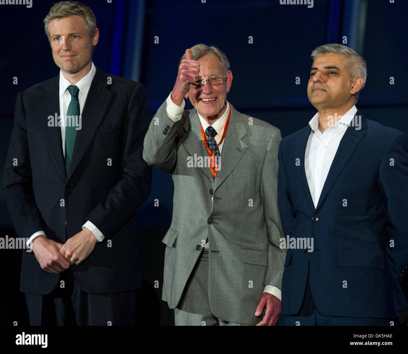 Sadiq Khan takes the stage after being elected as the new Mayor of London.  Featuring: Zac Goldsmith, Lee Harris, - Stock Image