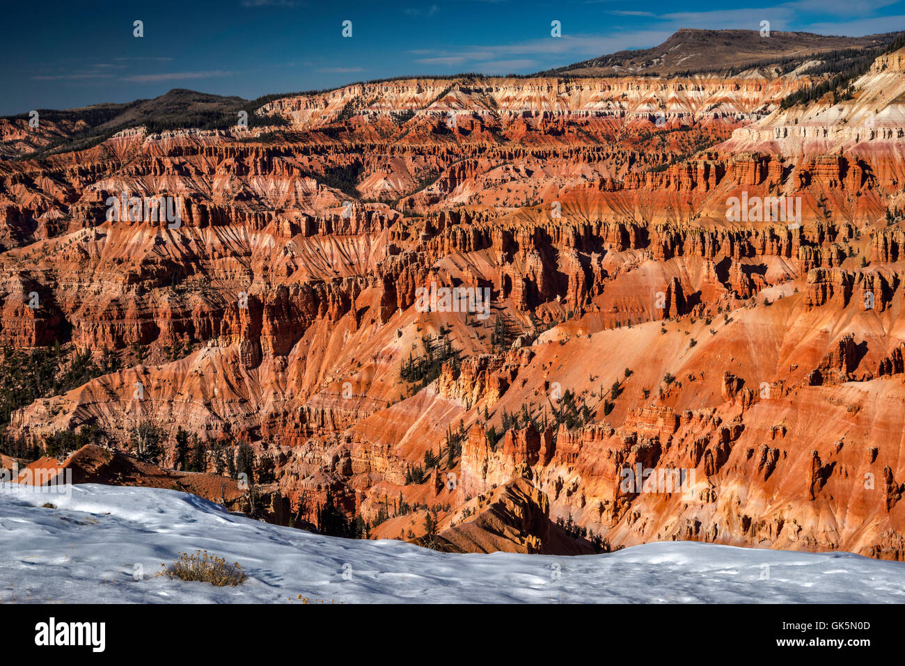 View of Cedar Breaks Amphitheater in late October from Point Supreme in Cedar Breaks National Monument, Utah, USA - Stock Image