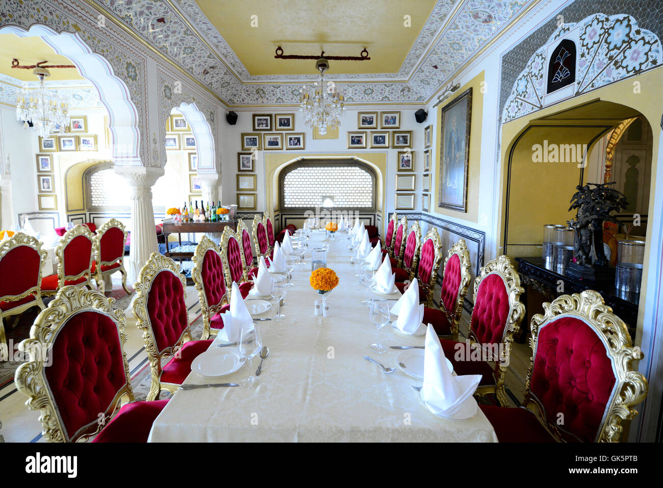 1135 AD restaurant inside Amber fort, Jaipur, Rajasthan, India interior. - Stock Image