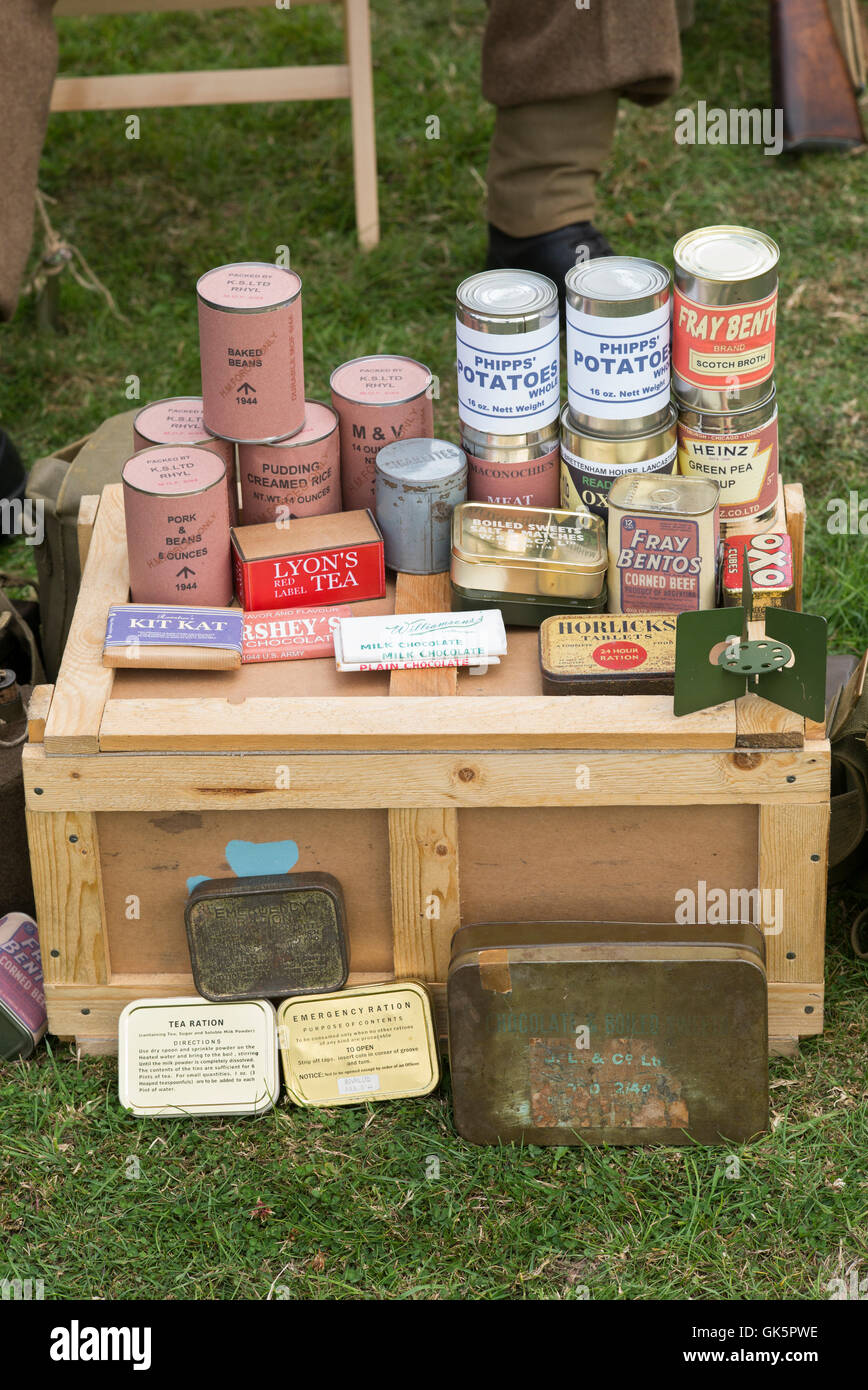 WW2 British army rations at a living history reenactment. Spetchley Park, Worcestershire, England - Stock Image